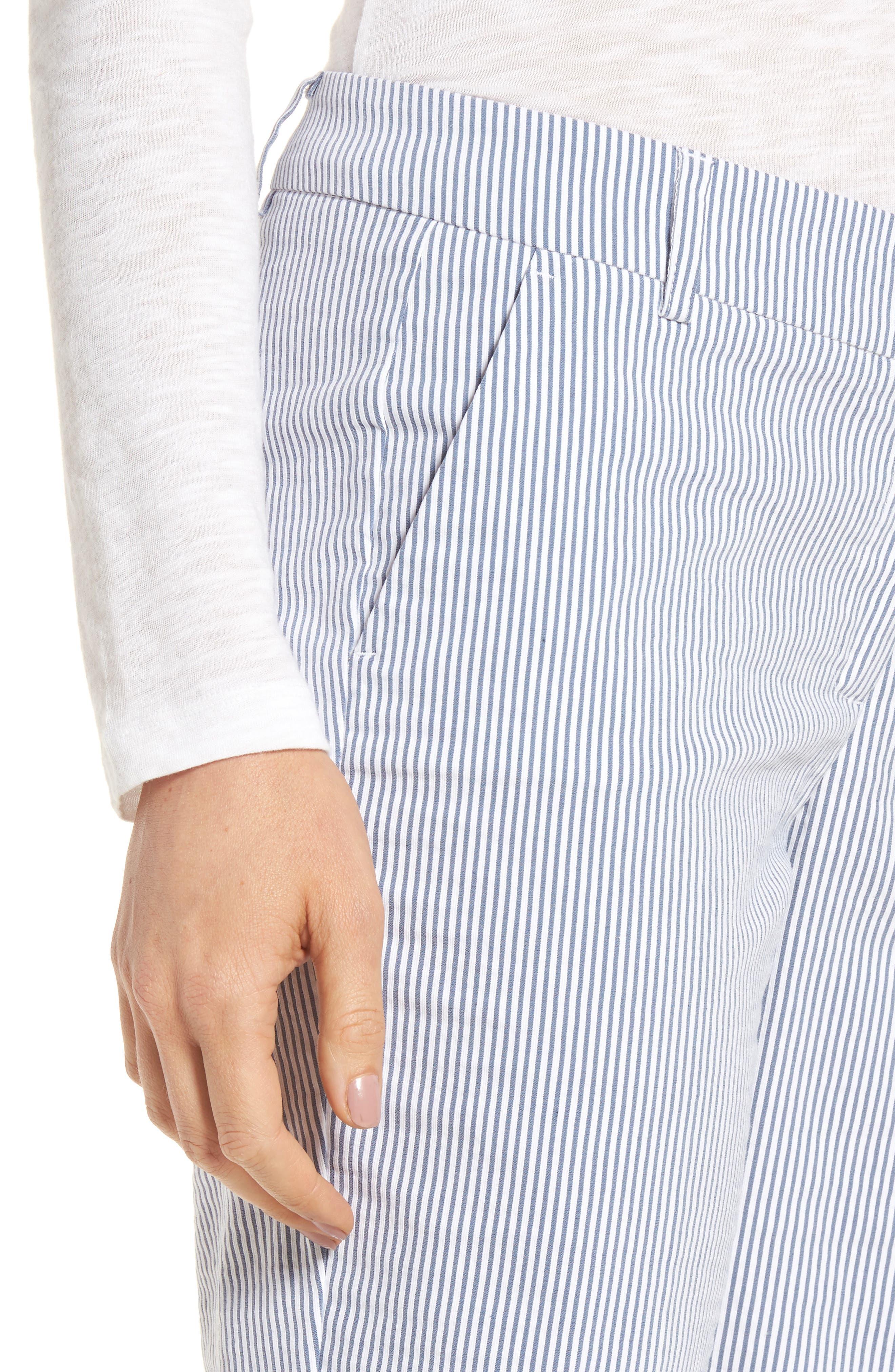 Stretch Bermuda Shorts,                             Alternate thumbnail 4, color,                             Blue- White Seersucker