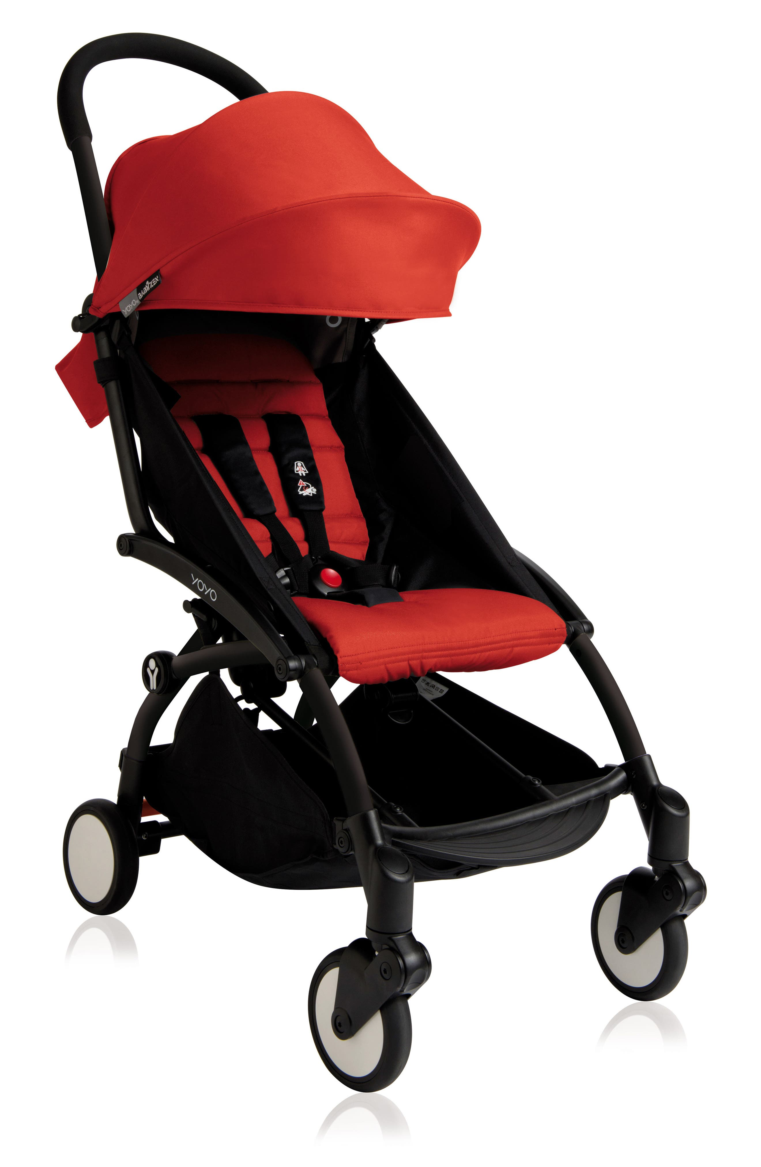 BABYZEN YOYO+ Complete Stroller with Toddler/Little Kid Color Pack Fabric Set,                         Main,                         color, Black/ Red