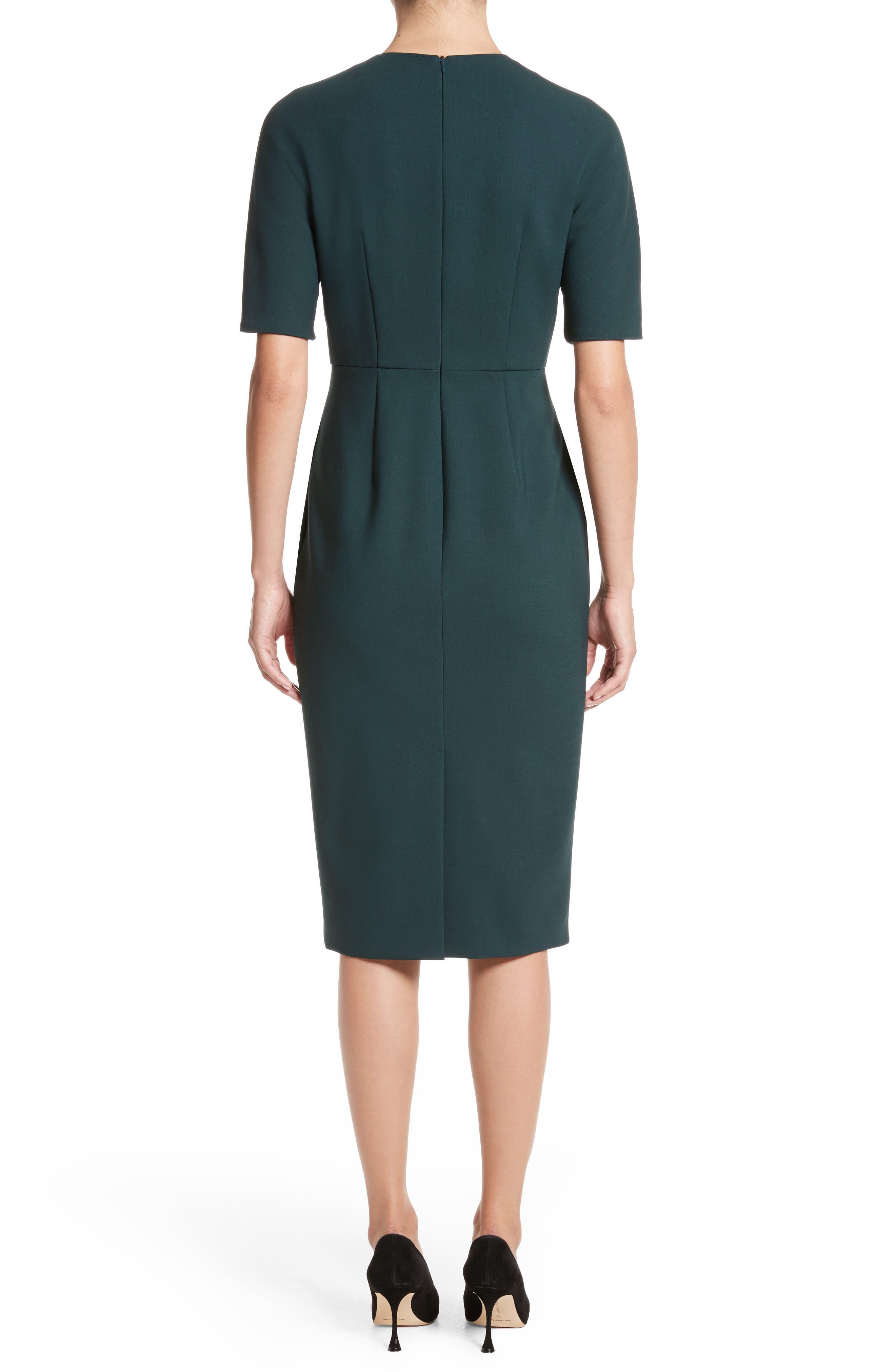 Umano Stretch Wool Sheath Dress,                             Alternate thumbnail 2, color,                             Dark Green