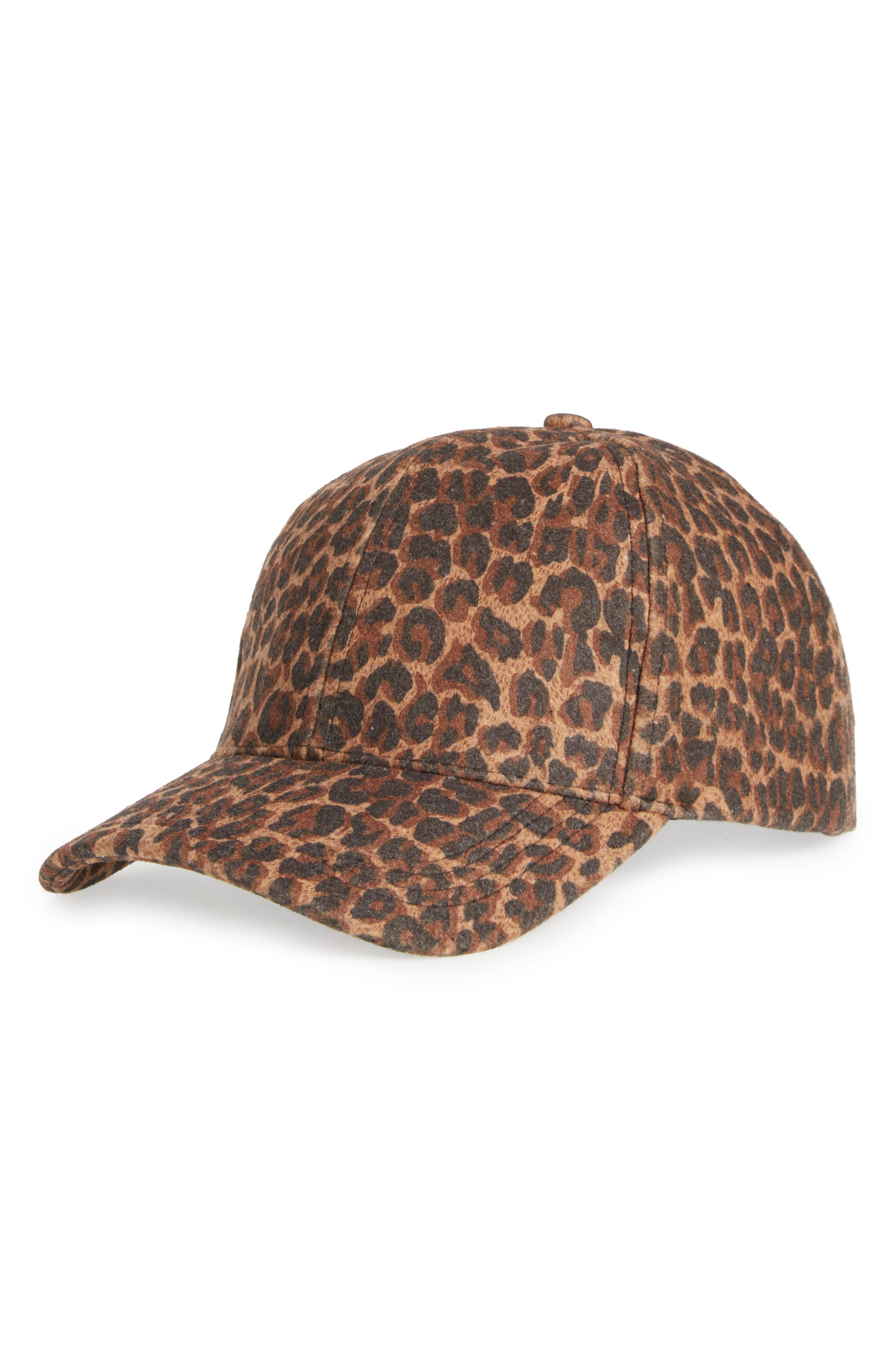 Leopard Print Ball Cap,                         Main,                         color, Brown