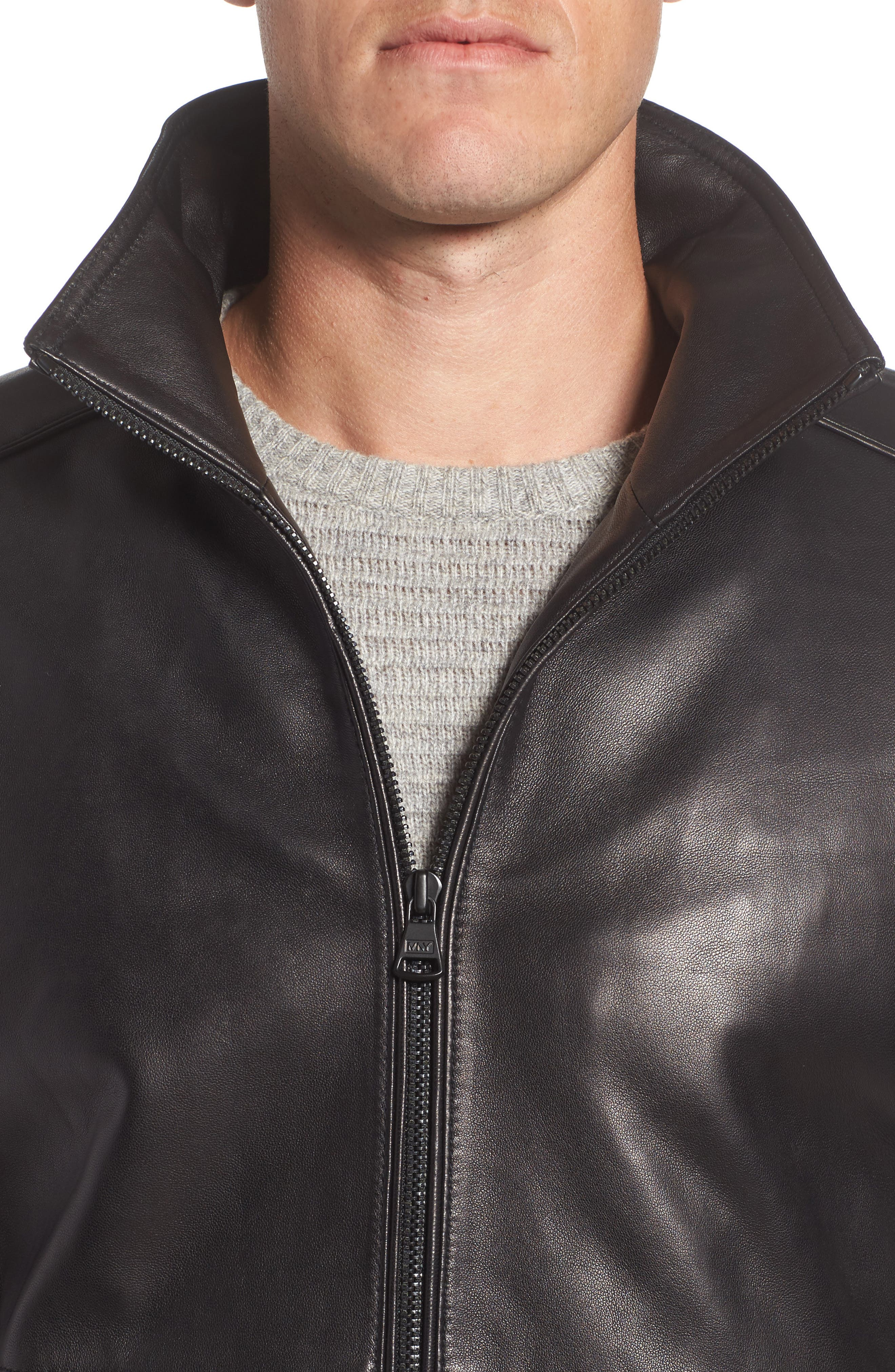Leather Jacket with Quilted Insert,                             Alternate thumbnail 4, color,                             Black