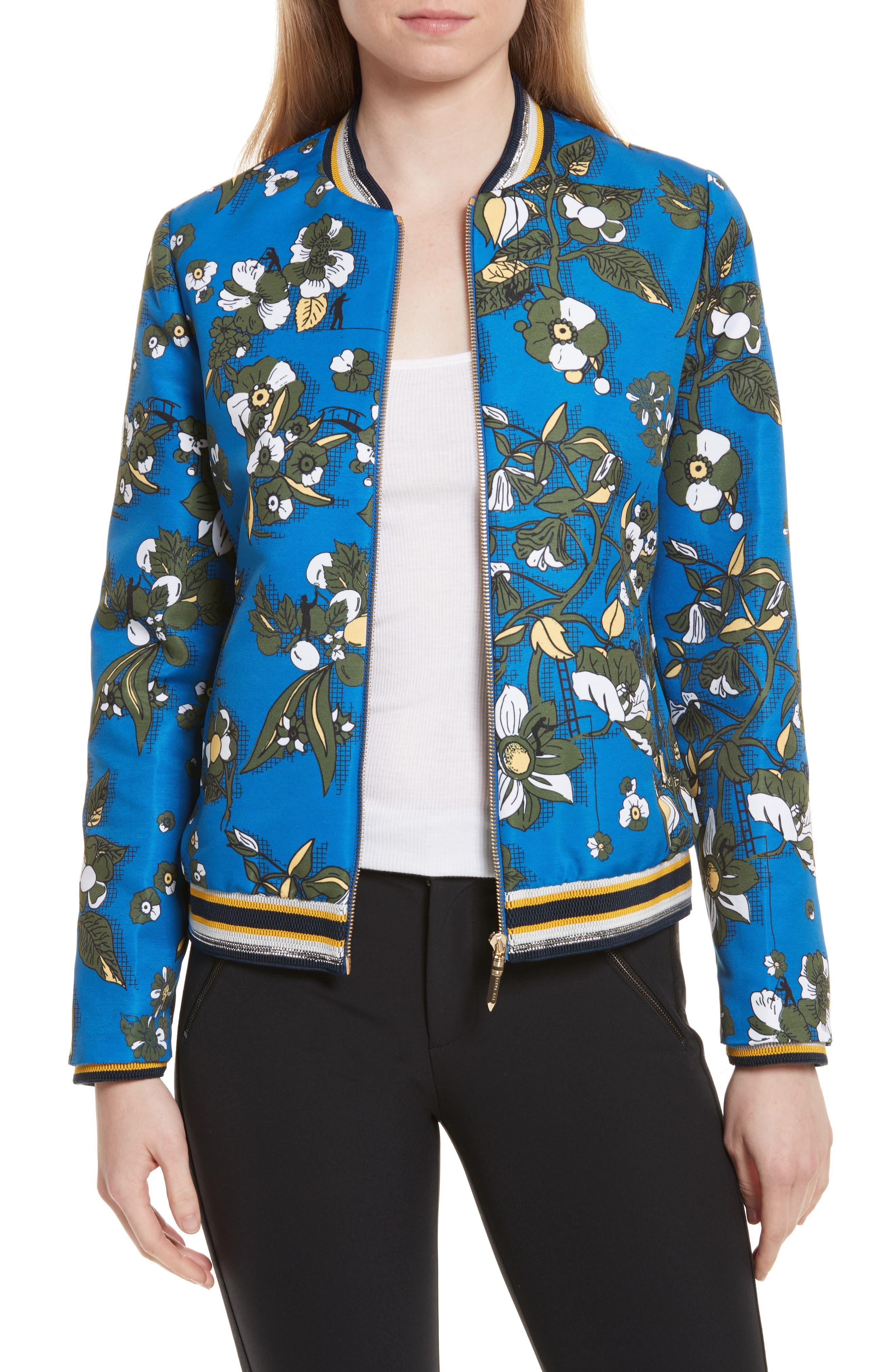 Cheylan Floral Bomber Jacket,                         Main,                         color, Dark Blue