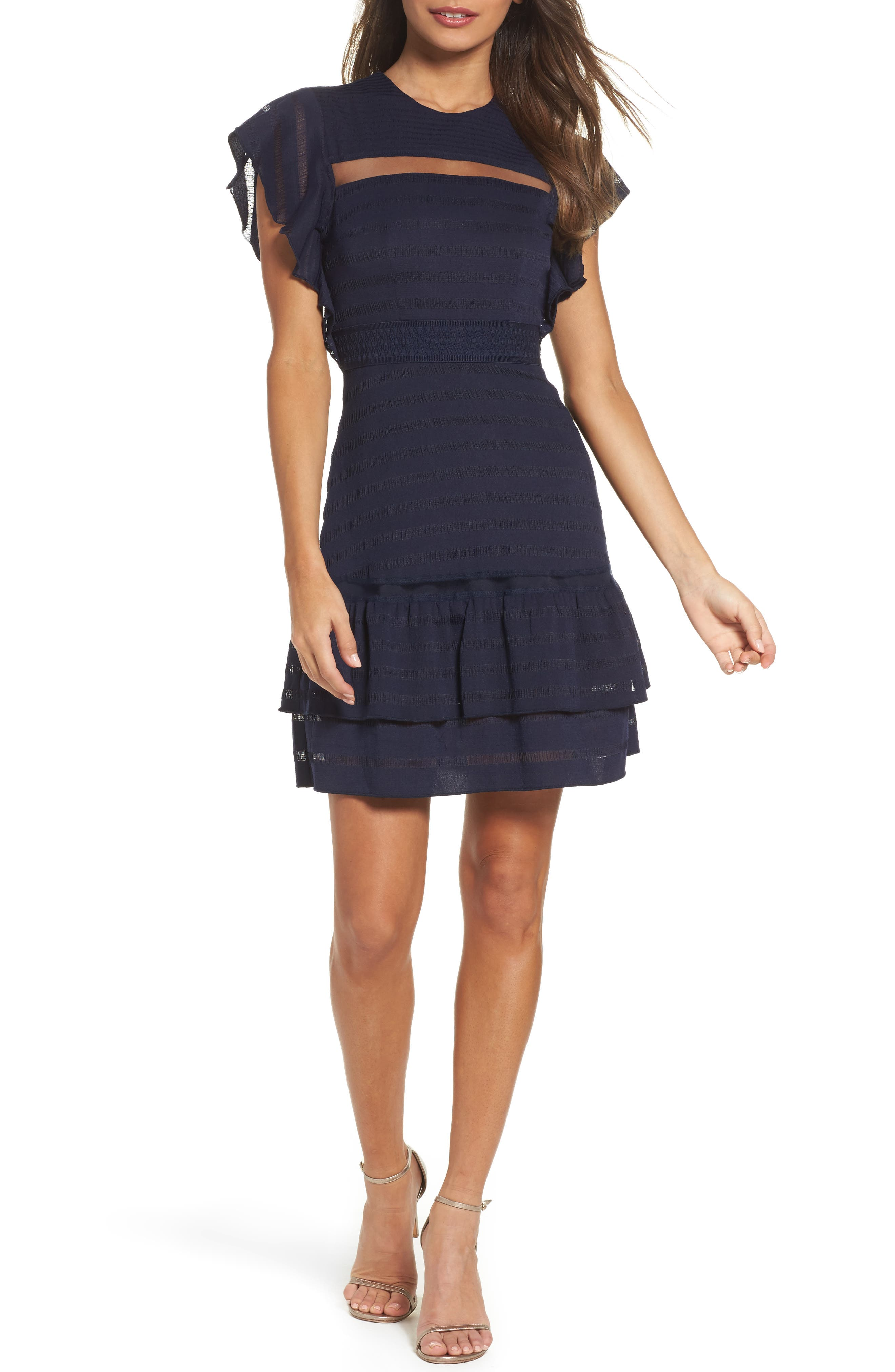 Elsie Ruffle Sleeve Fit & Flare Dress,                             Main thumbnail 1, color,                             Navy