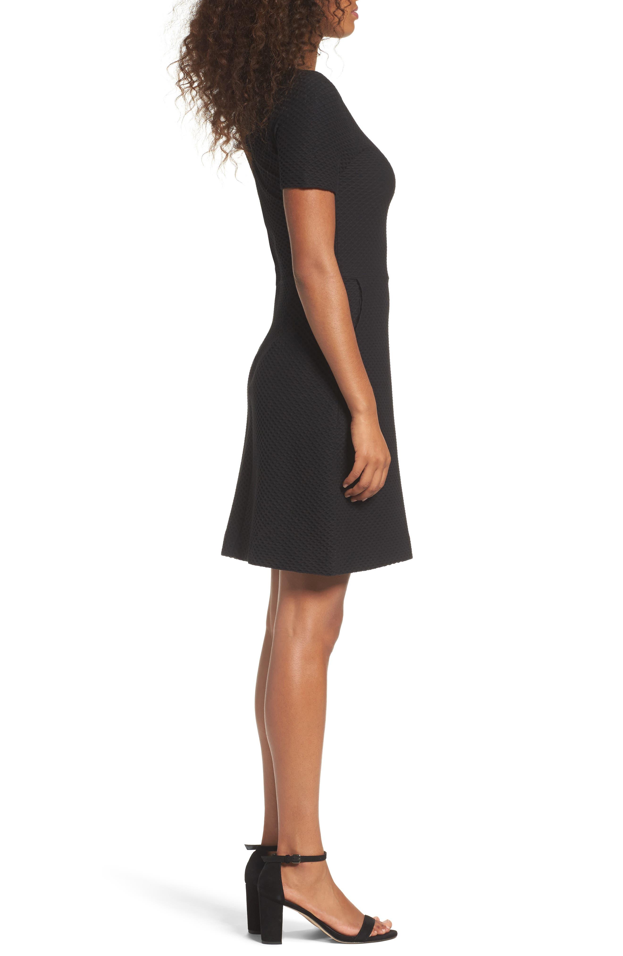 Dixie Fit & Flare Dress,                             Alternate thumbnail 3, color,                             Black