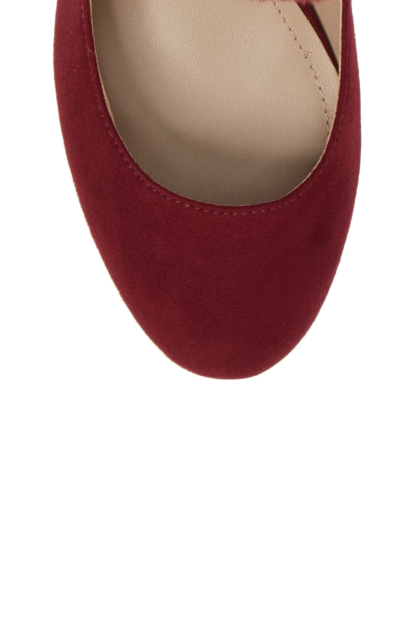 Libby Faux Fur Pompom Pump,                             Alternate thumbnail 5, color,                             Cabernet Suede