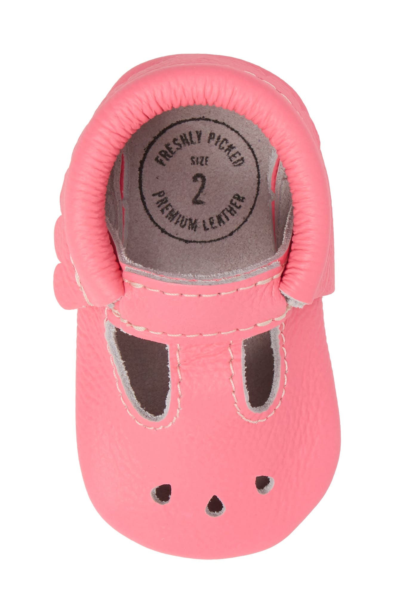 Perforated Mary Jane Moccasin,                             Alternate thumbnail 5, color,                             Neon Pink Leather