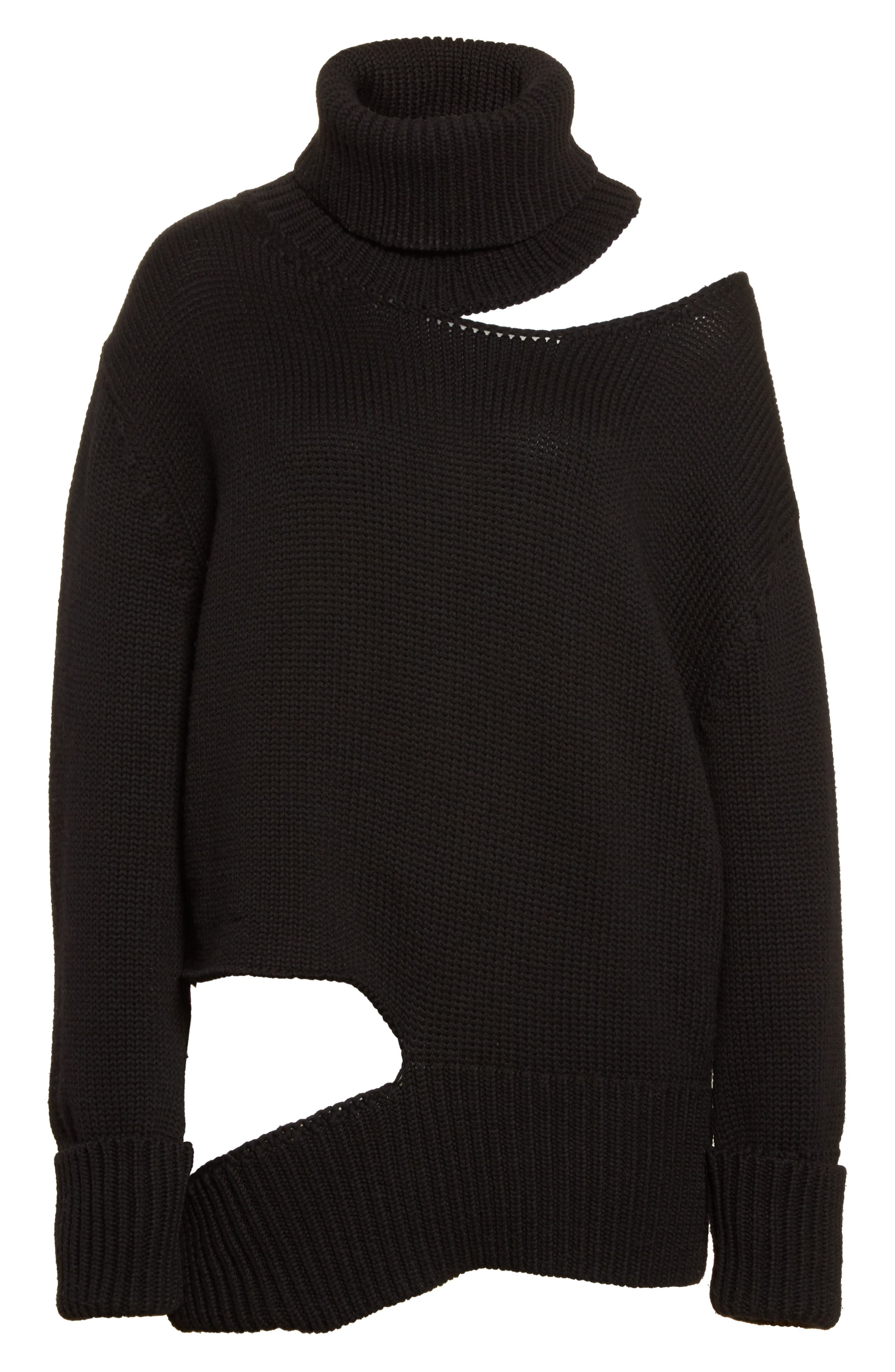 Asymmetrical Cutout Turtleneck Sweater,                             Alternate thumbnail 7, color,                             Black