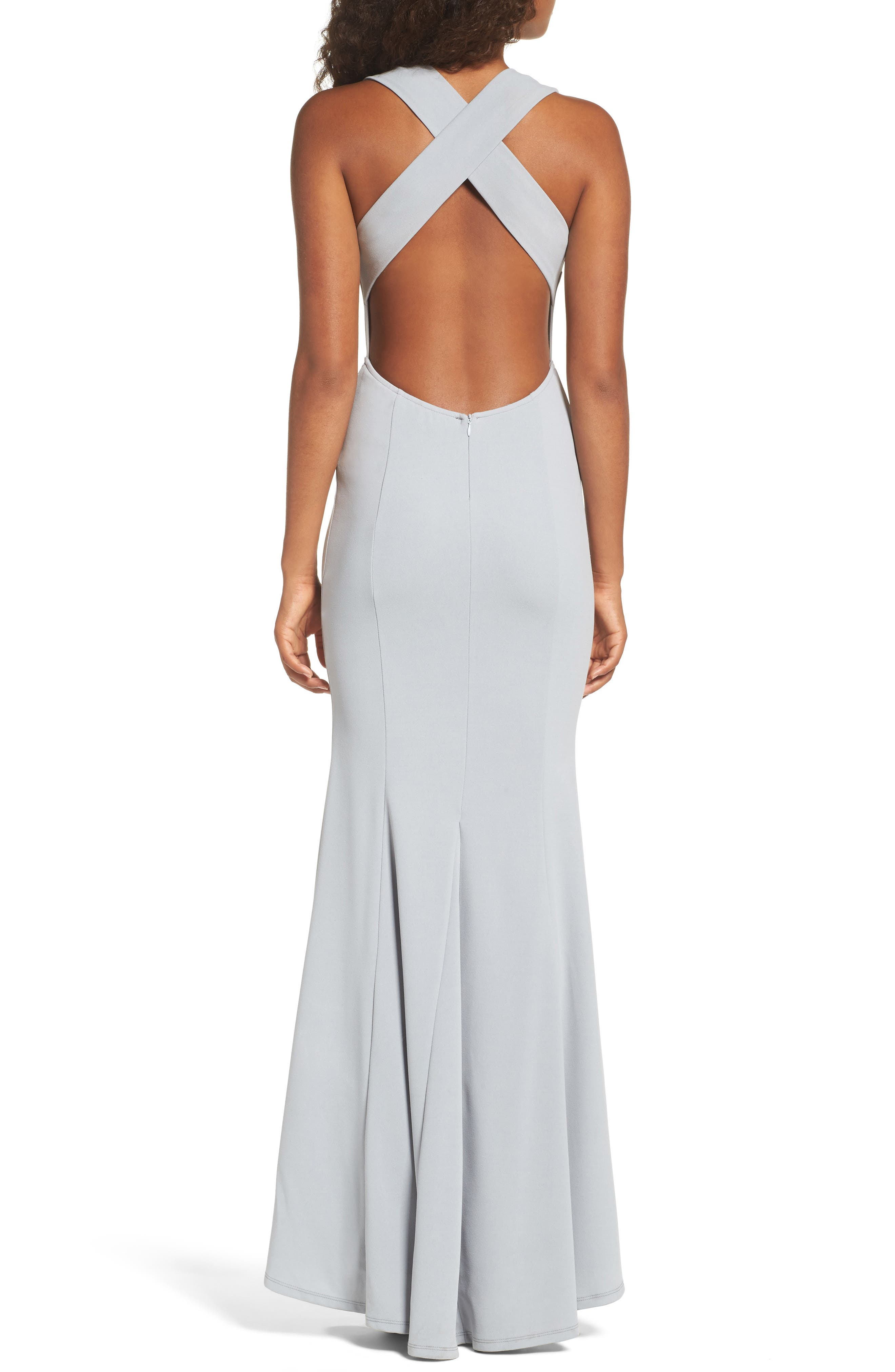 Alternate Image 2  - Lulus Heaven & Earth Plunge Neck Gown