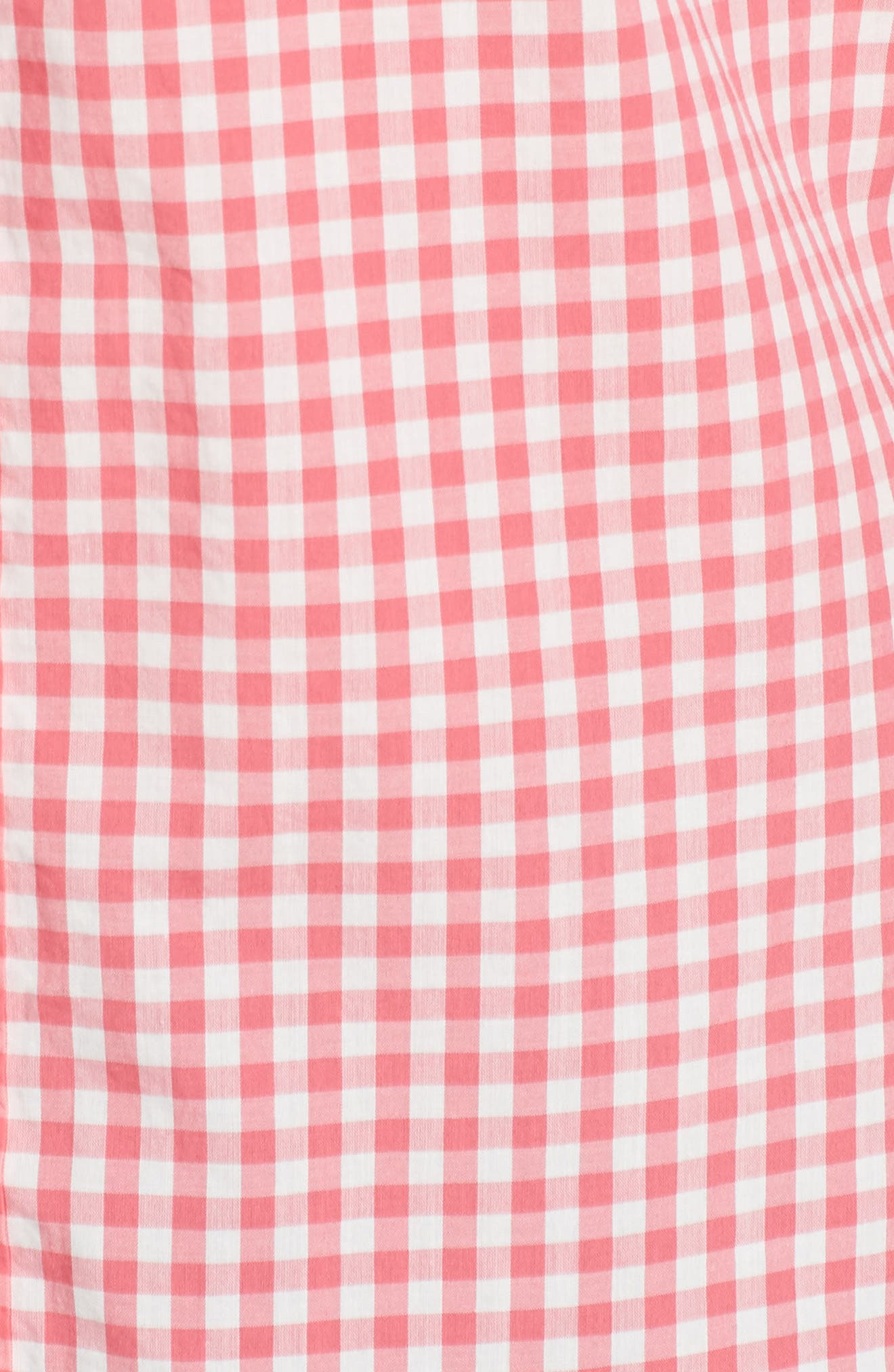 Slim Fit Summerweight Check Sport Shirt,                             Alternate thumbnail 5, color,                             Coral Ribbon Gingham