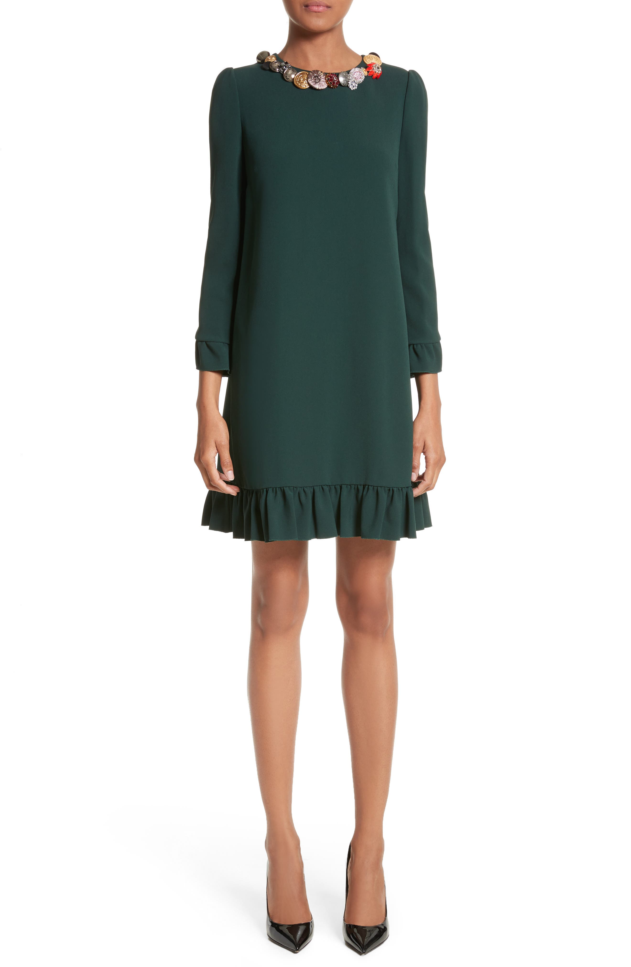 Button Trim Ruffle Hem Dress,                             Main thumbnail 1, color,                             Dark Green