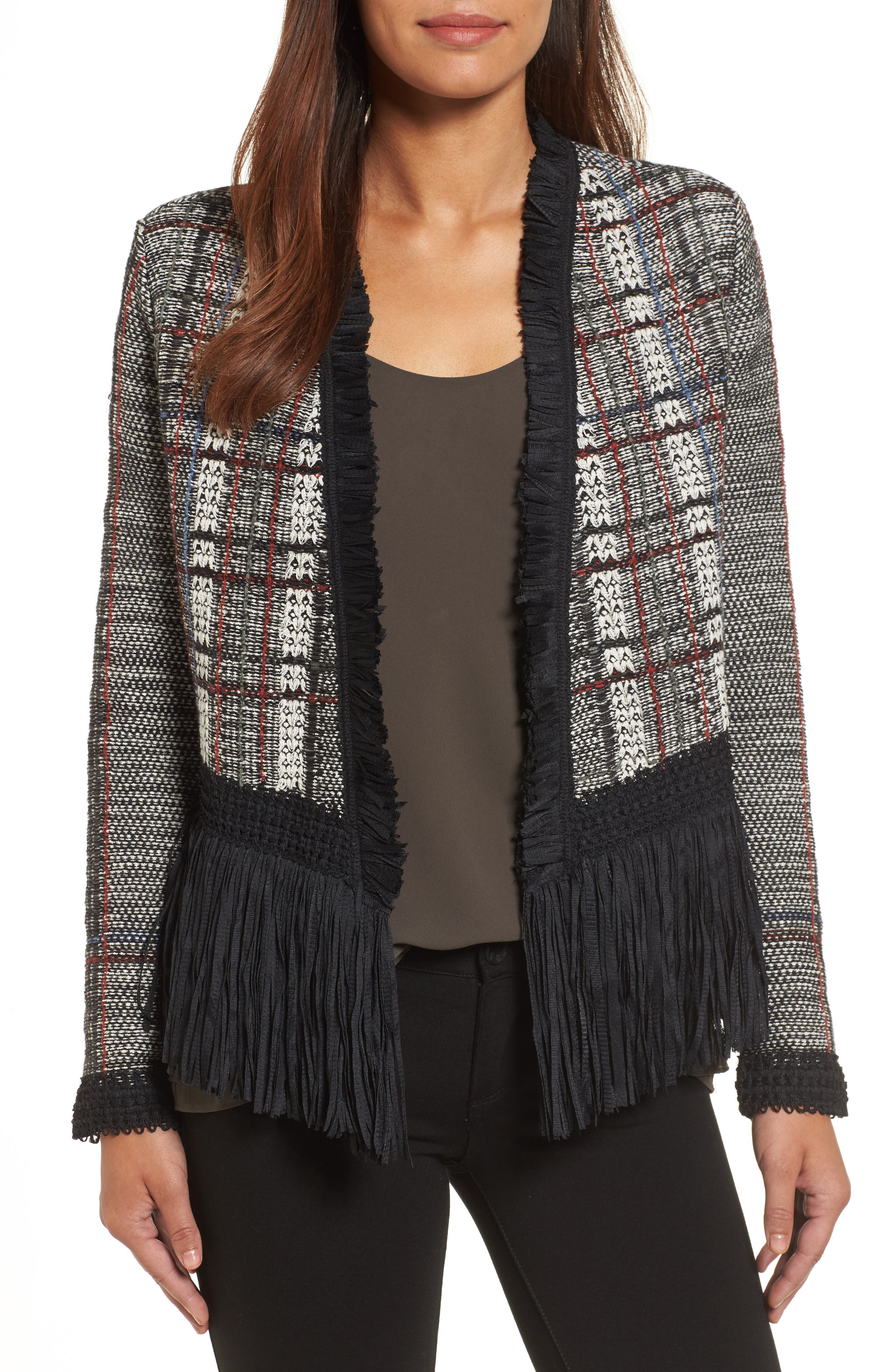 Alternate Image 1 Selected - NIC+ZOE Plaid Tweed Fringe Jacket (Regular & Petite)