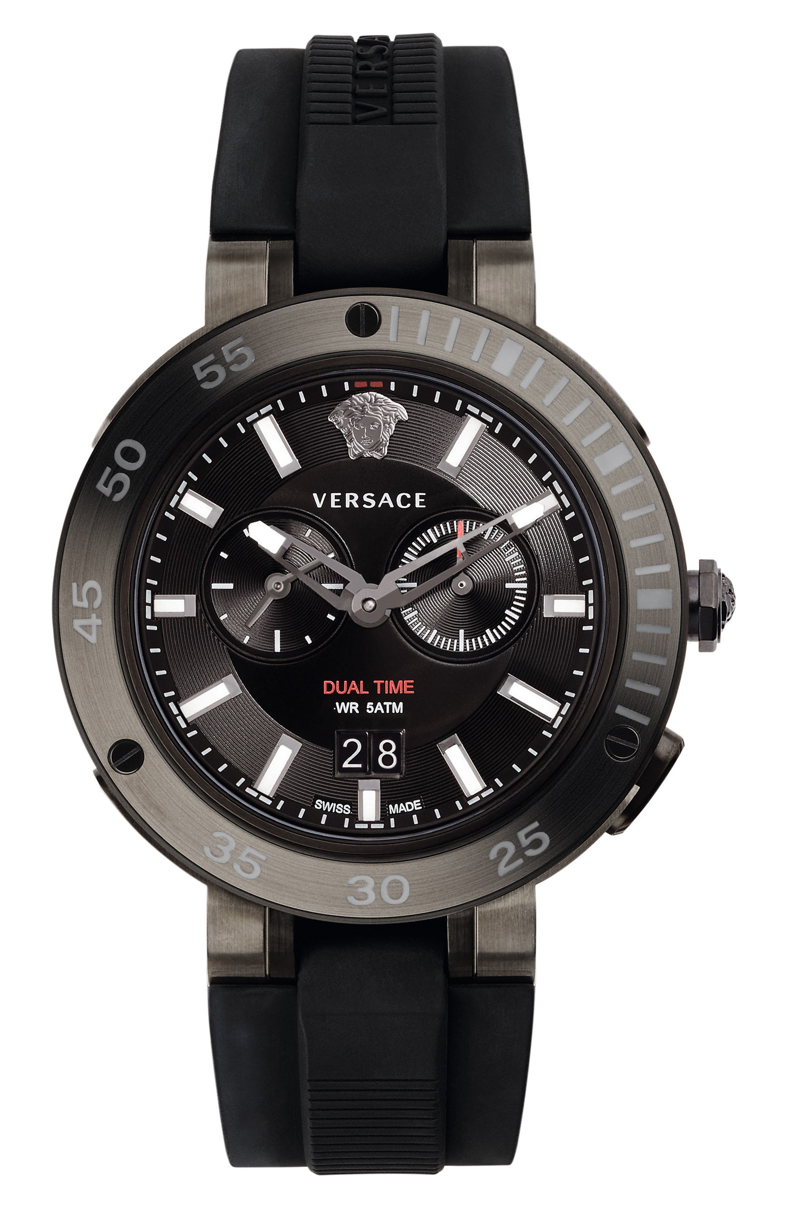 Versace V-Extreme Pro Silicone Strap Watch, 46mm