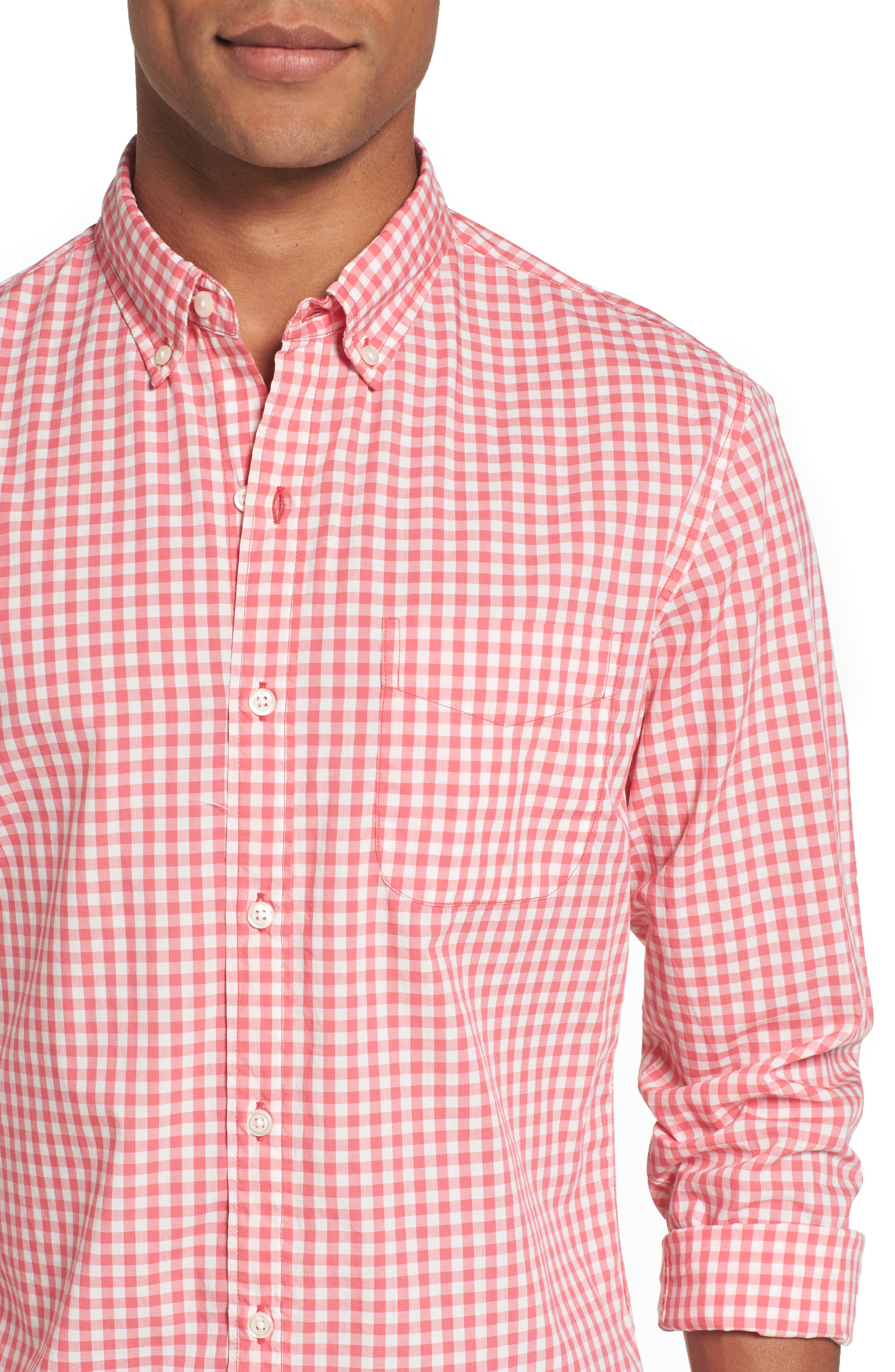 Slim Fit Summerweight Check Sport Shirt,                             Alternate thumbnail 4, color,                             Coral Ribbon Gingham