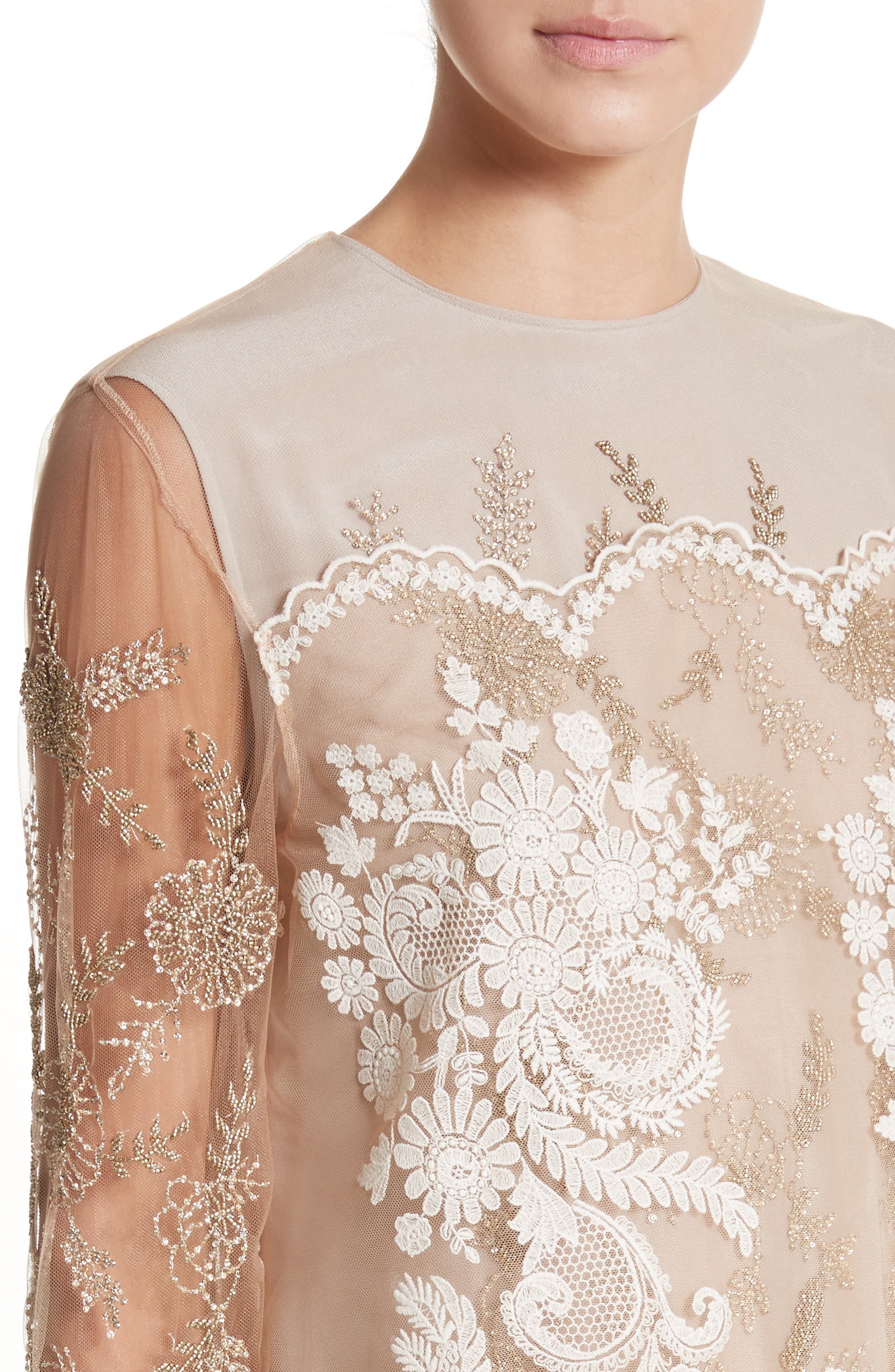 Embroidered Tulle Lace Dress,                             Alternate thumbnail 4, color,                             Camel