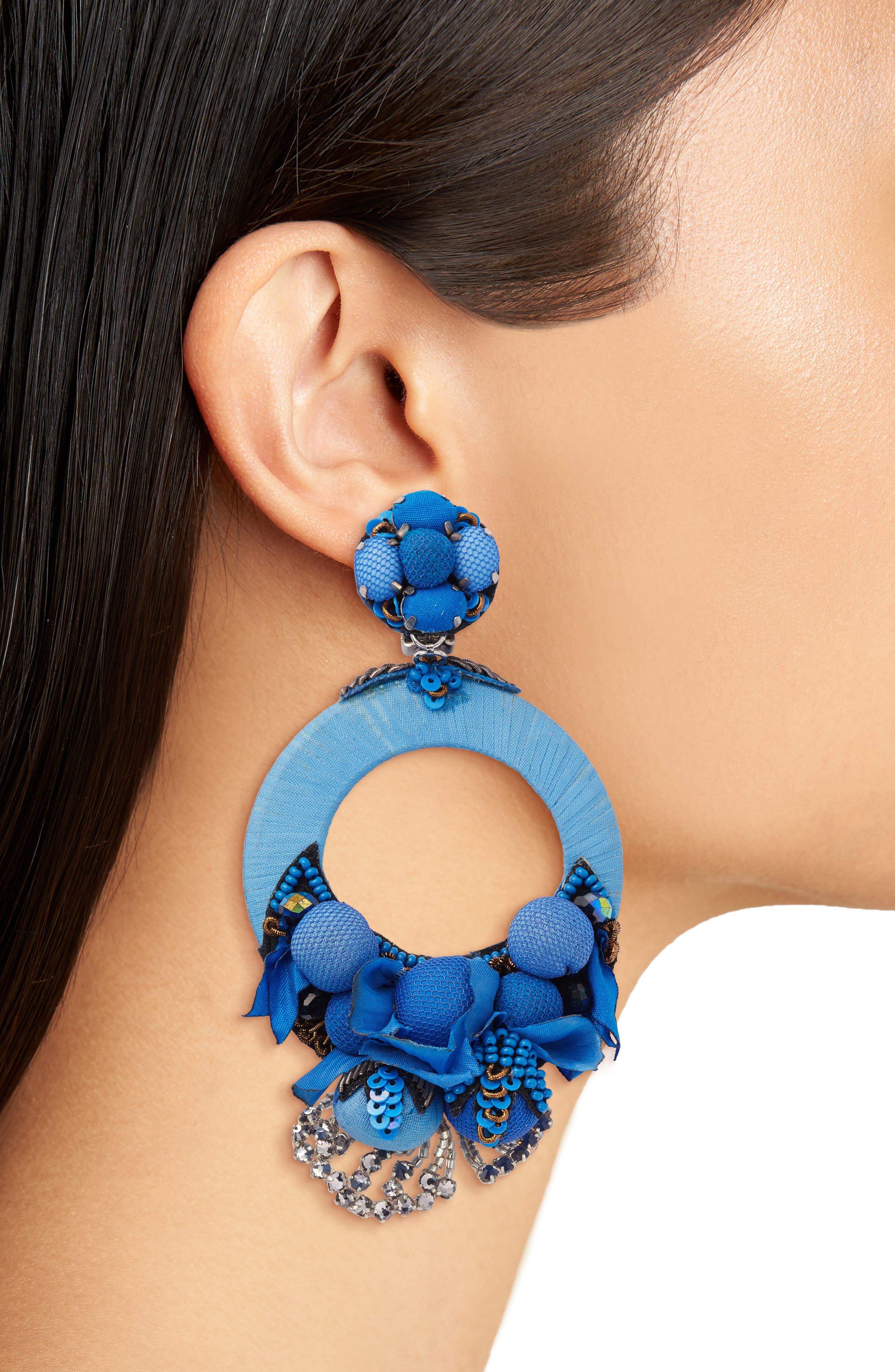 Posie Large Drop Earrings,                             Alternate thumbnail 2, color,                             Blue