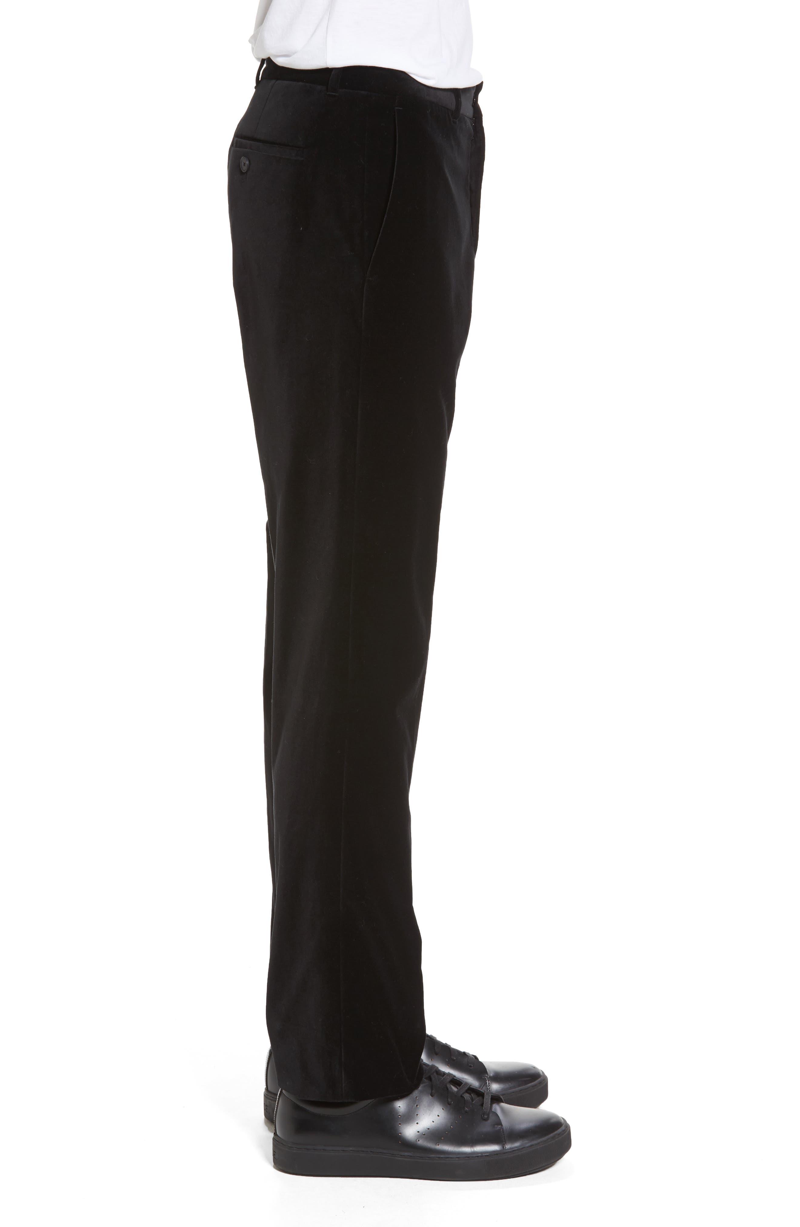 Velvet Trousers,                             Alternate thumbnail 3, color,                             Black