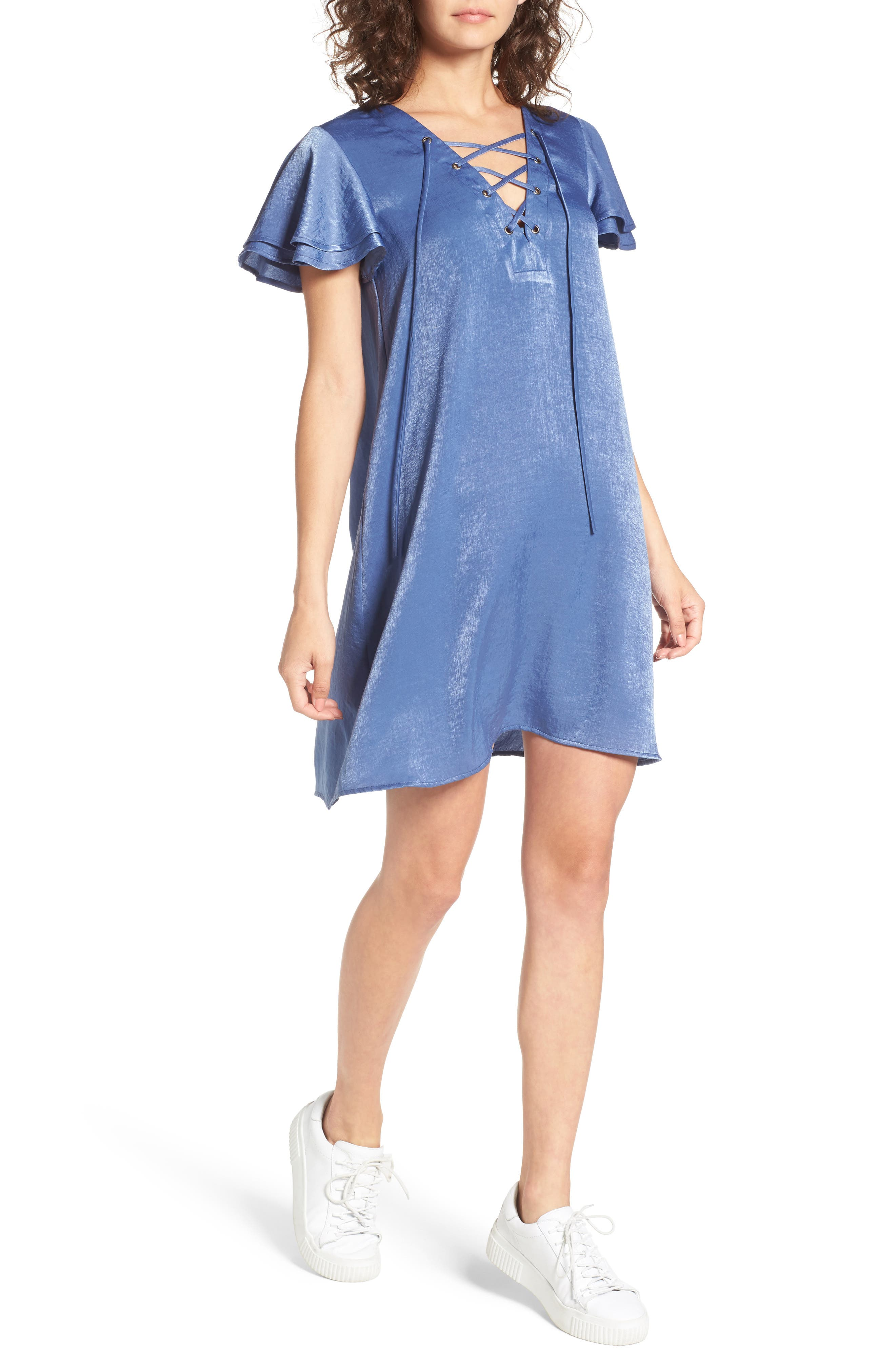 Lace-Up Shift Dress,                             Main thumbnail 1, color,                             Faded Denim
