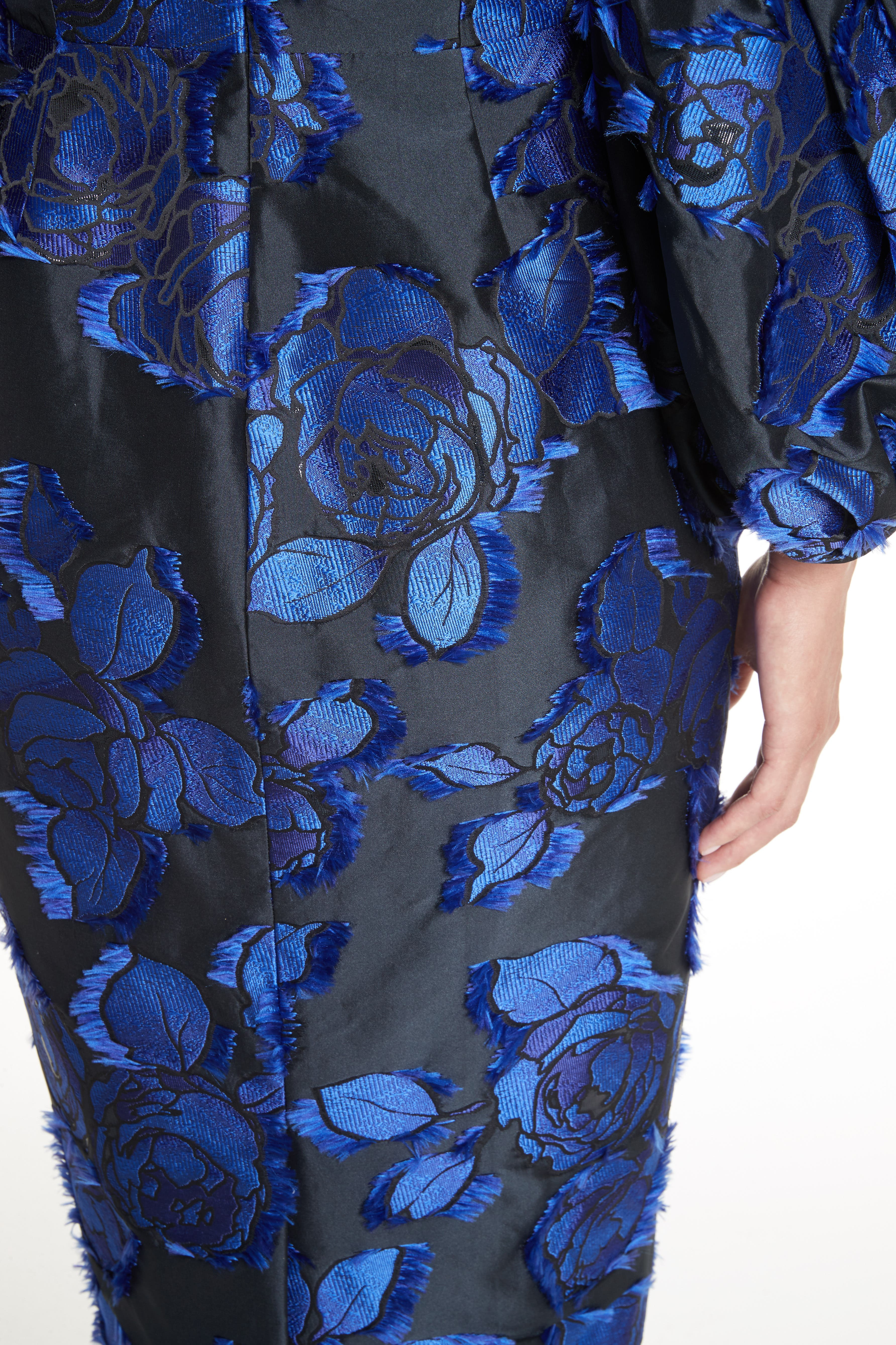 Fring Brocade Puff Sleeve Dress,                             Alternate thumbnail 3, color,                             Black/ Lapis