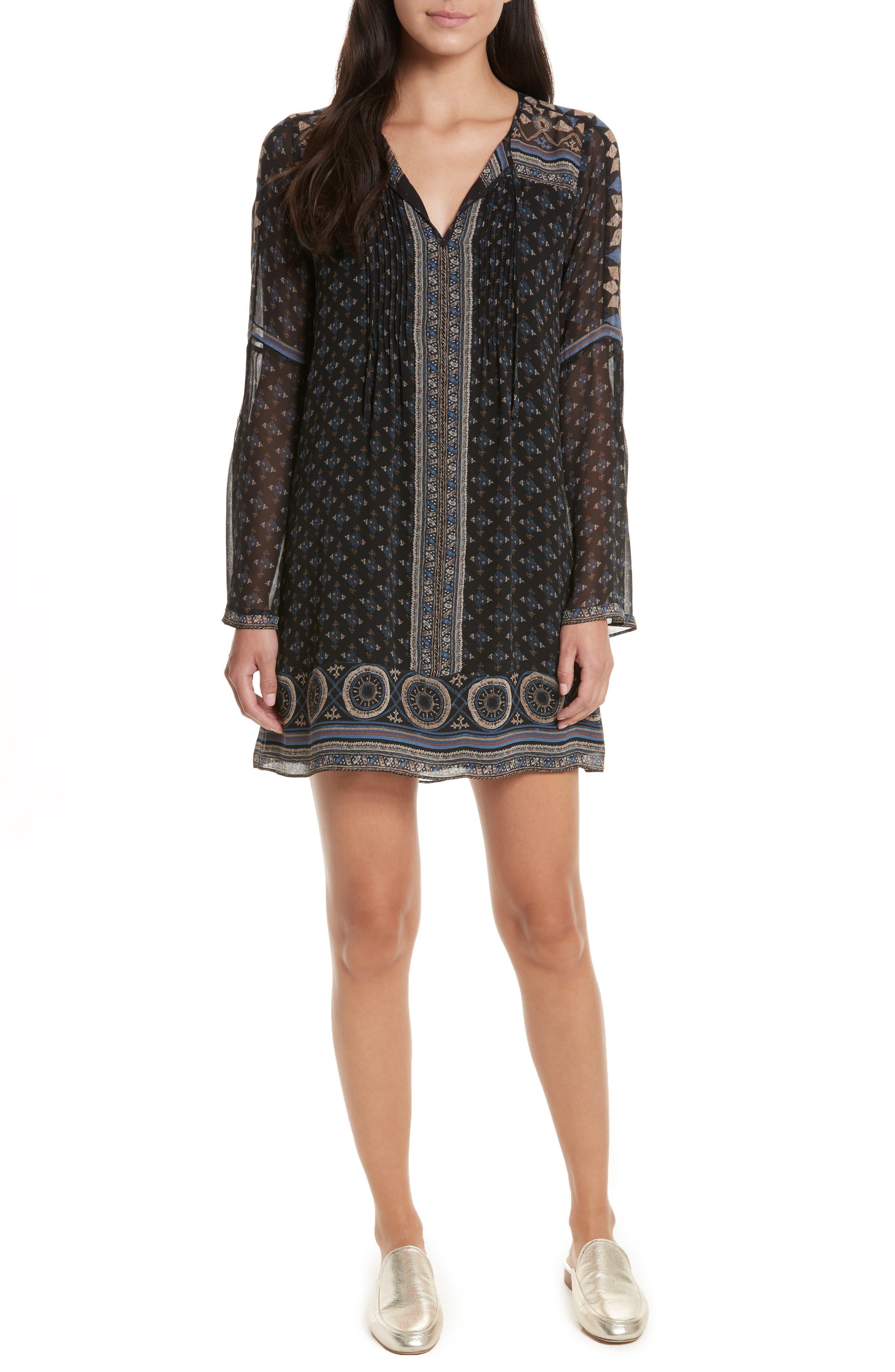 Sheyla Print Silk Shift Dress,                         Main,                         color, Caviar/ Almond