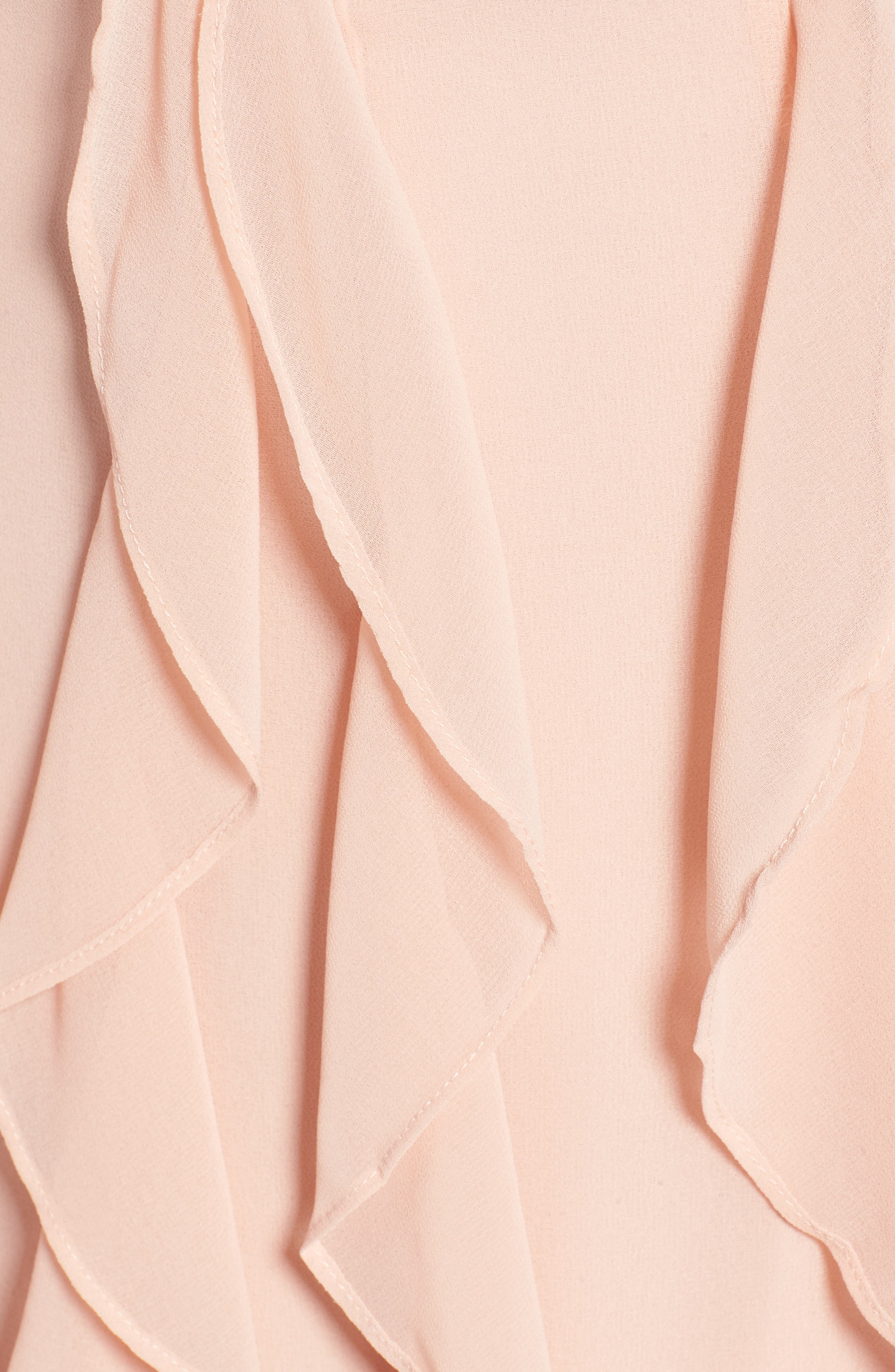 Ingrid Ruffle Chiffon Midi Dress,                             Alternate thumbnail 5, color,                             Cameo Rose