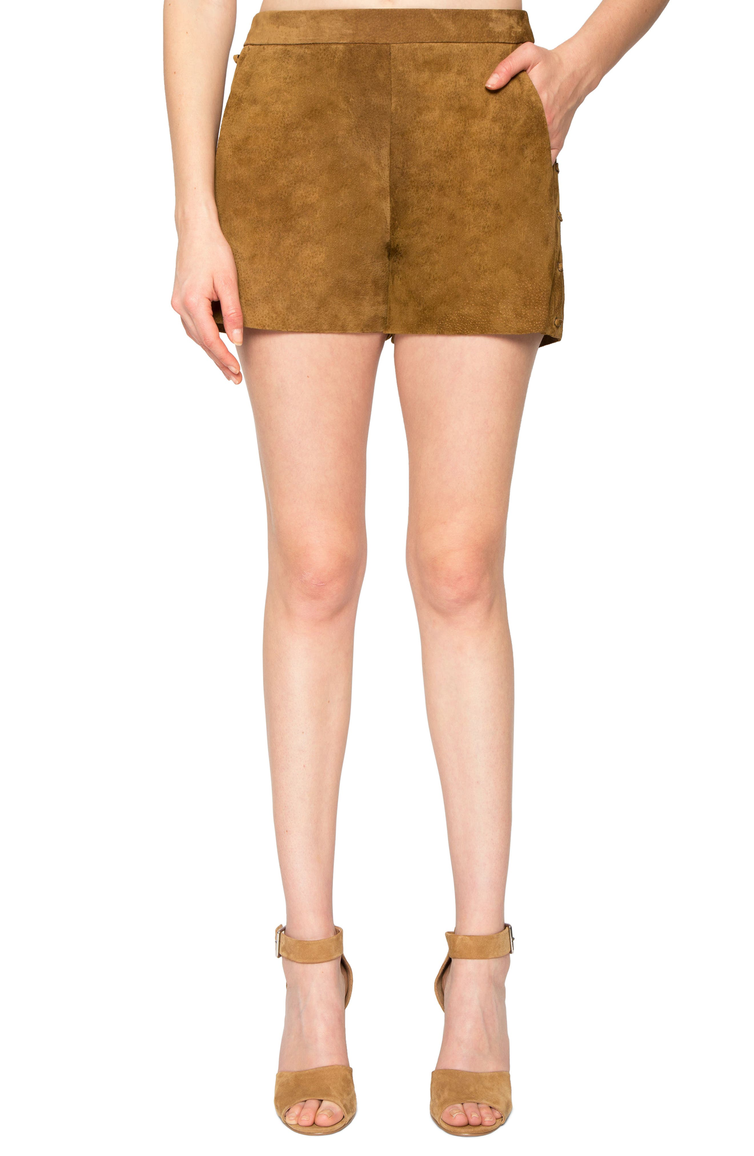 Side Lace-Up Suede Shorts,                         Main,                         color, Camel