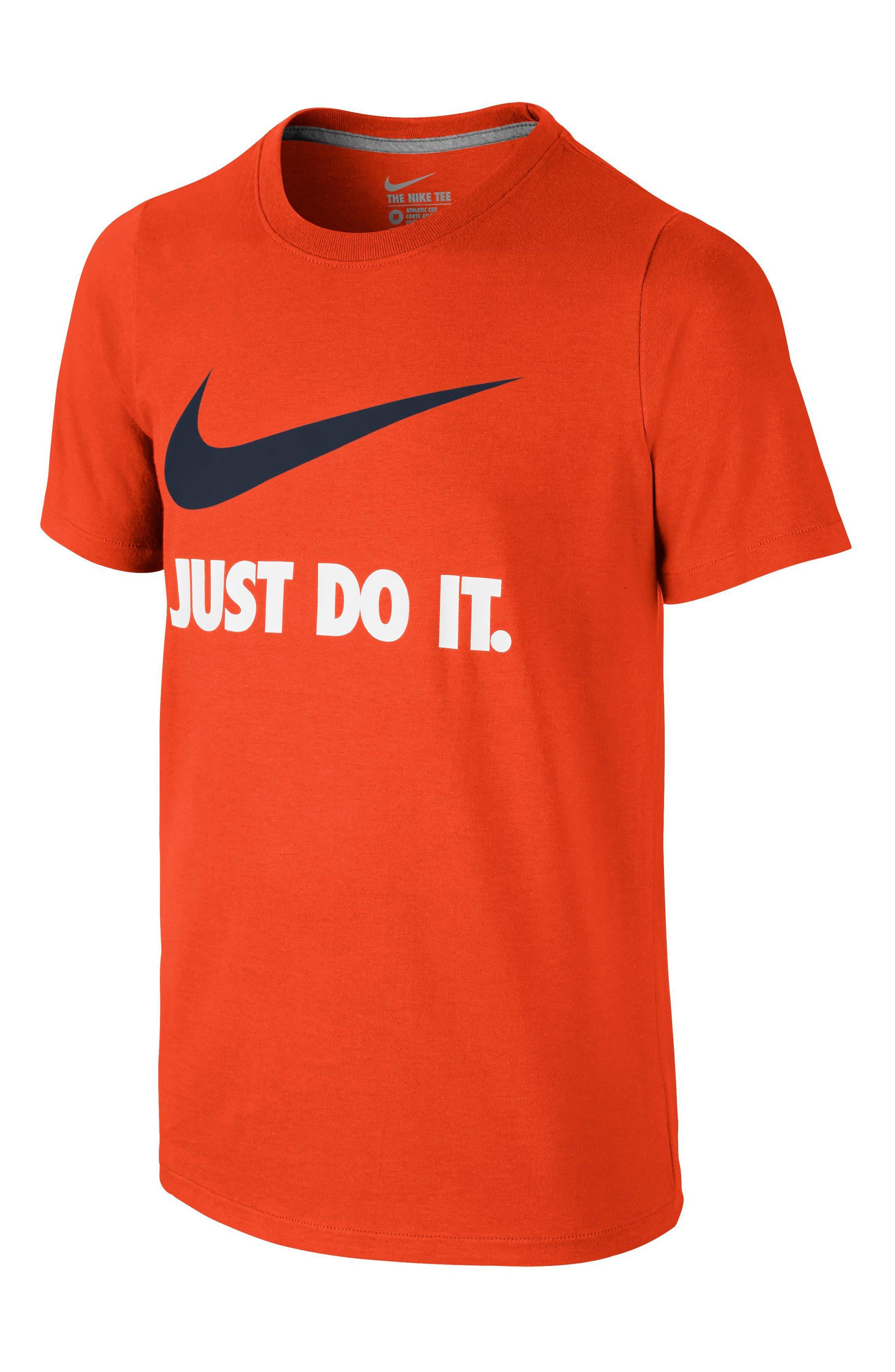 Just Do It Cotton T-Shirt,                         Main,                         color, Team Orange/ Obsidian