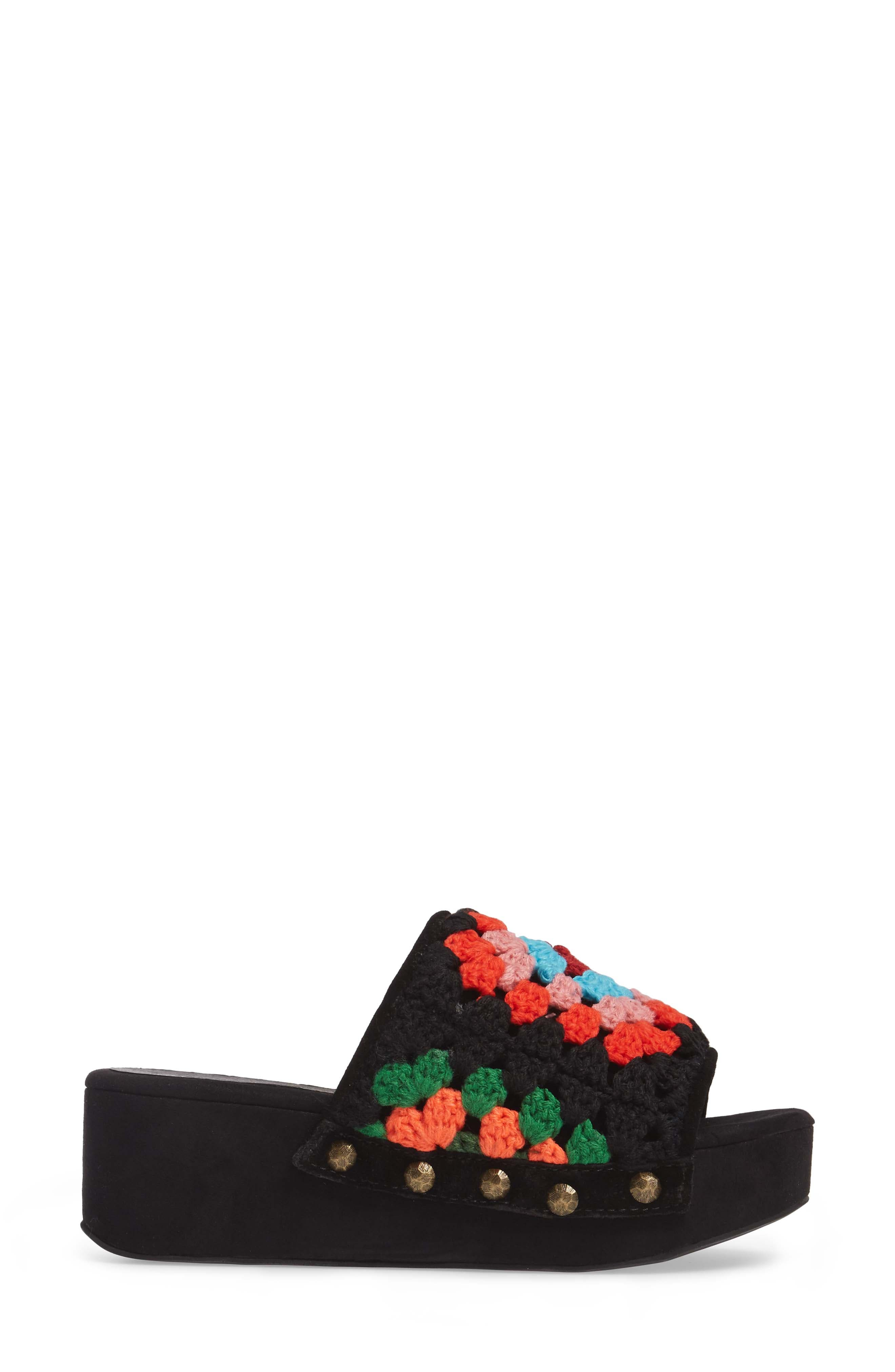 Nonna Crocheted Platform Slide Sandal,                             Alternate thumbnail 3, color,                             Black Suede Multi