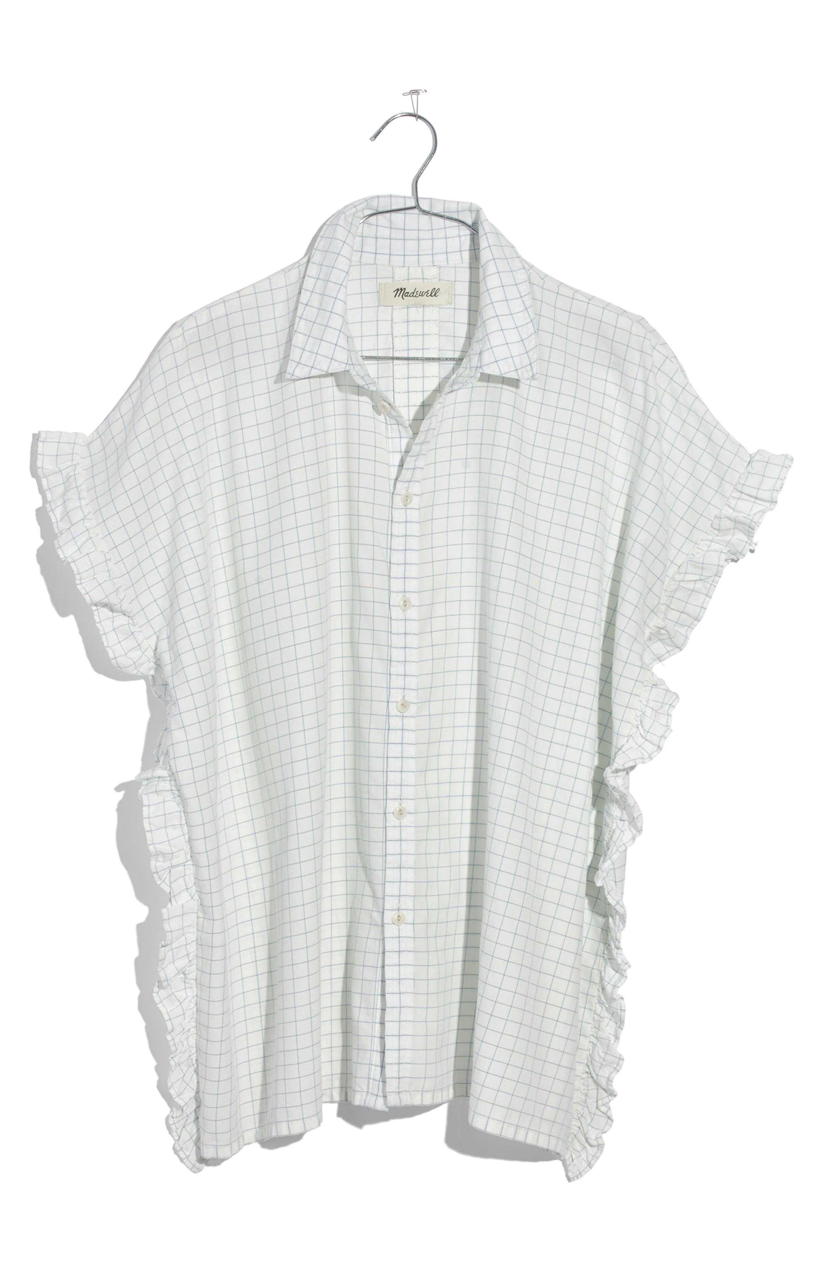 Windowpane Check Ruffle Shirt,                             Alternate thumbnail 4, color,                             Mini Windowpane