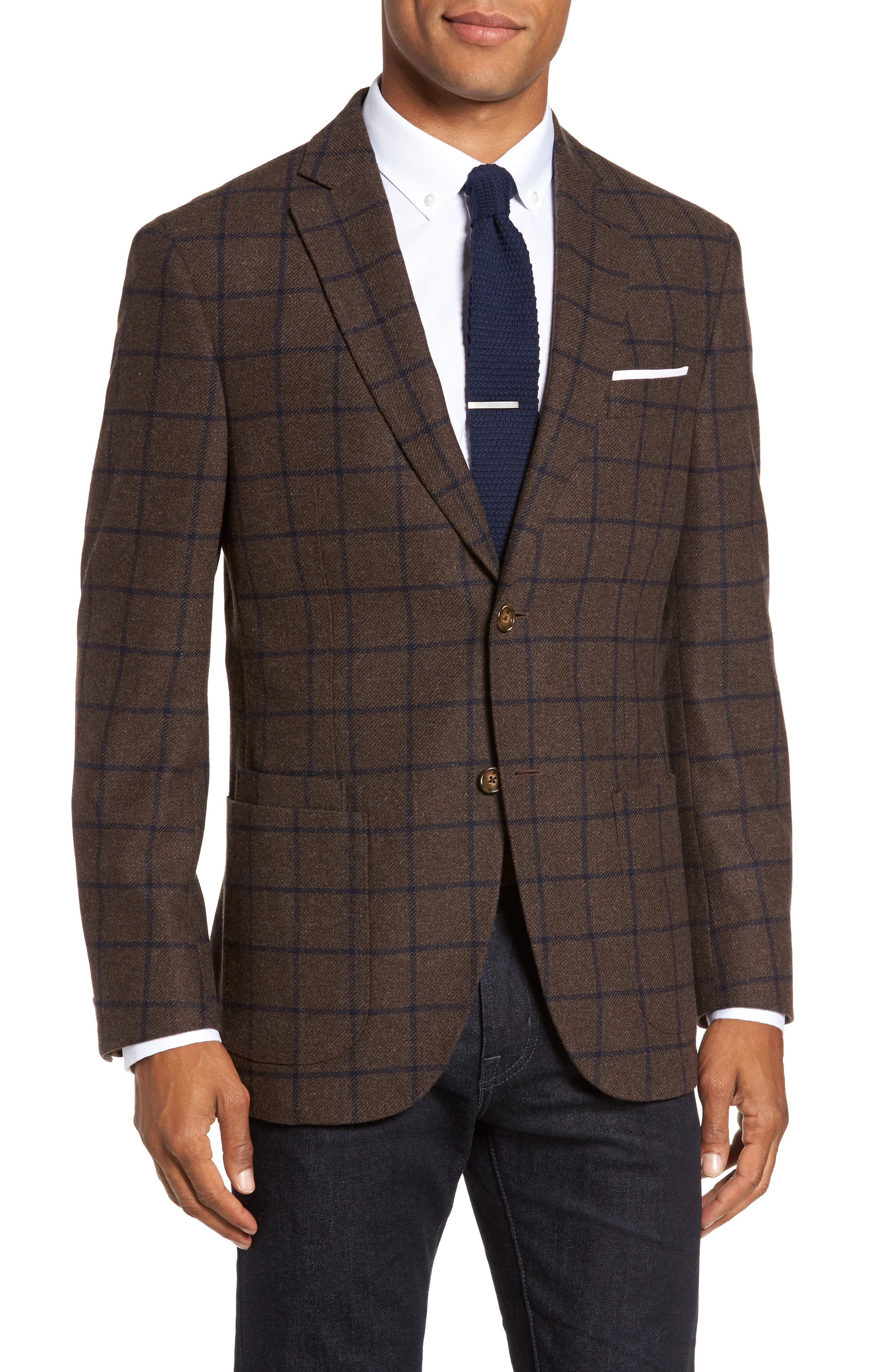 Alternate Image 1 Selected - JKT New York Trim Fit Windowpane Wool Blend Sport Coat