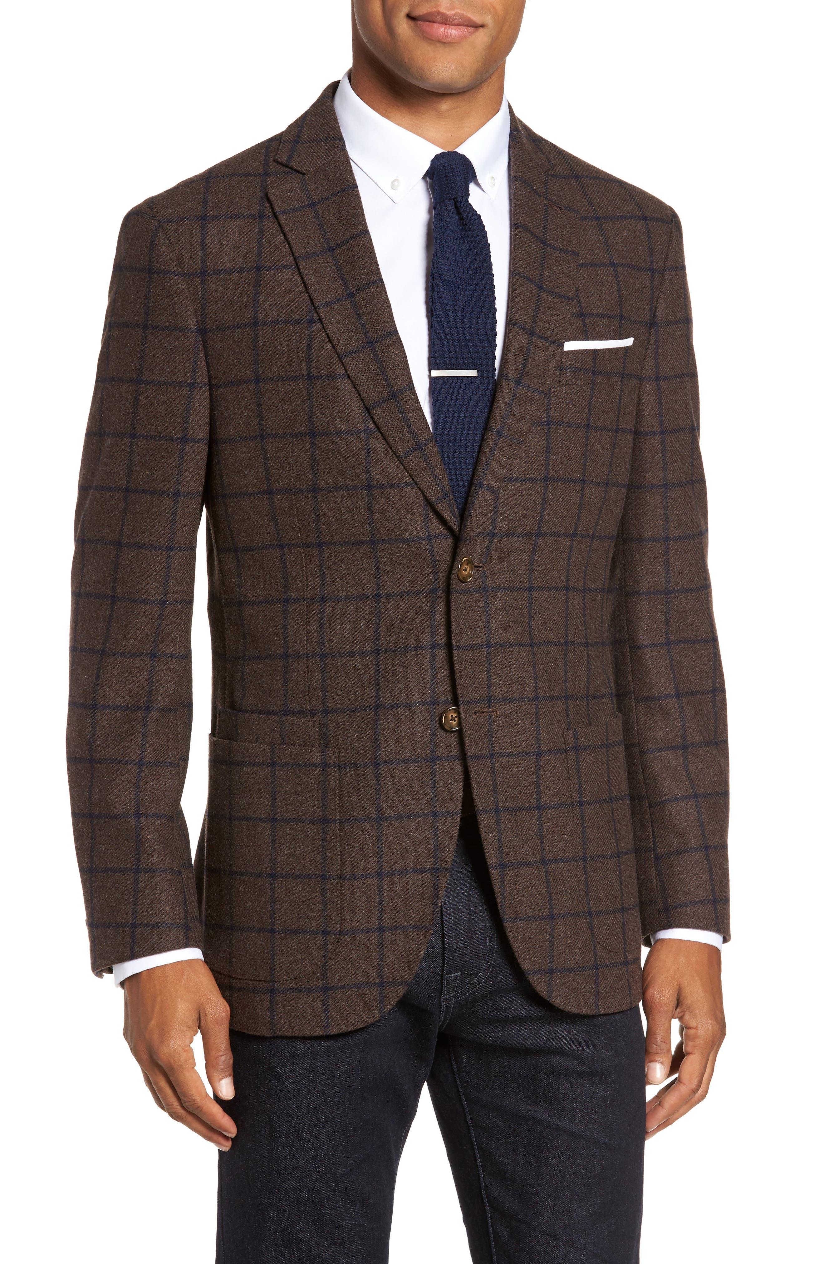 Trim Fit Windowpane Wool Blend Sport Coat,                         Main,                         color, Brown/ Blue