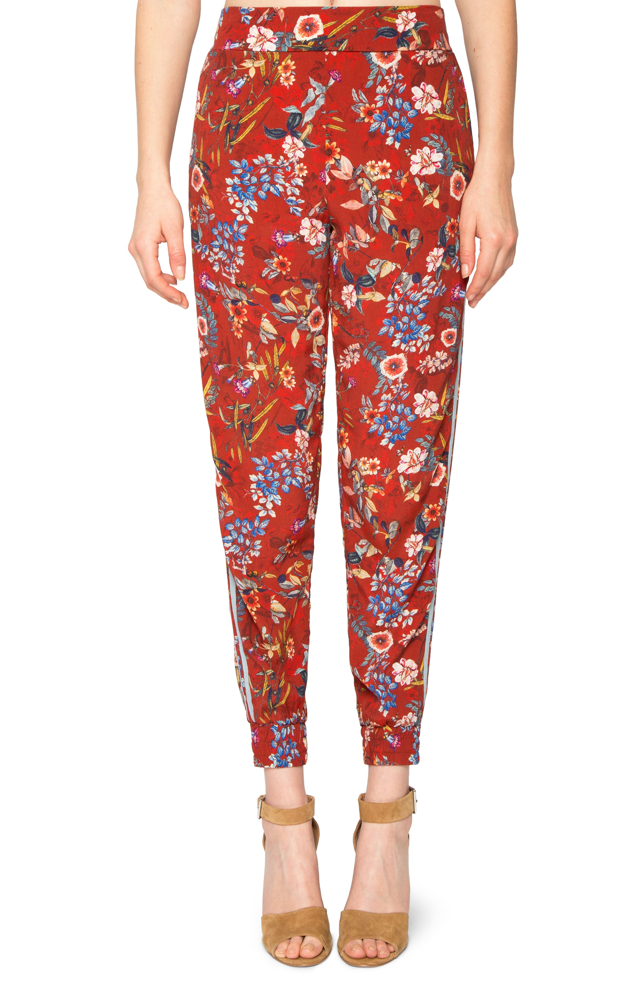 Print Jogger Pants,                         Main,                         color, Deep Red