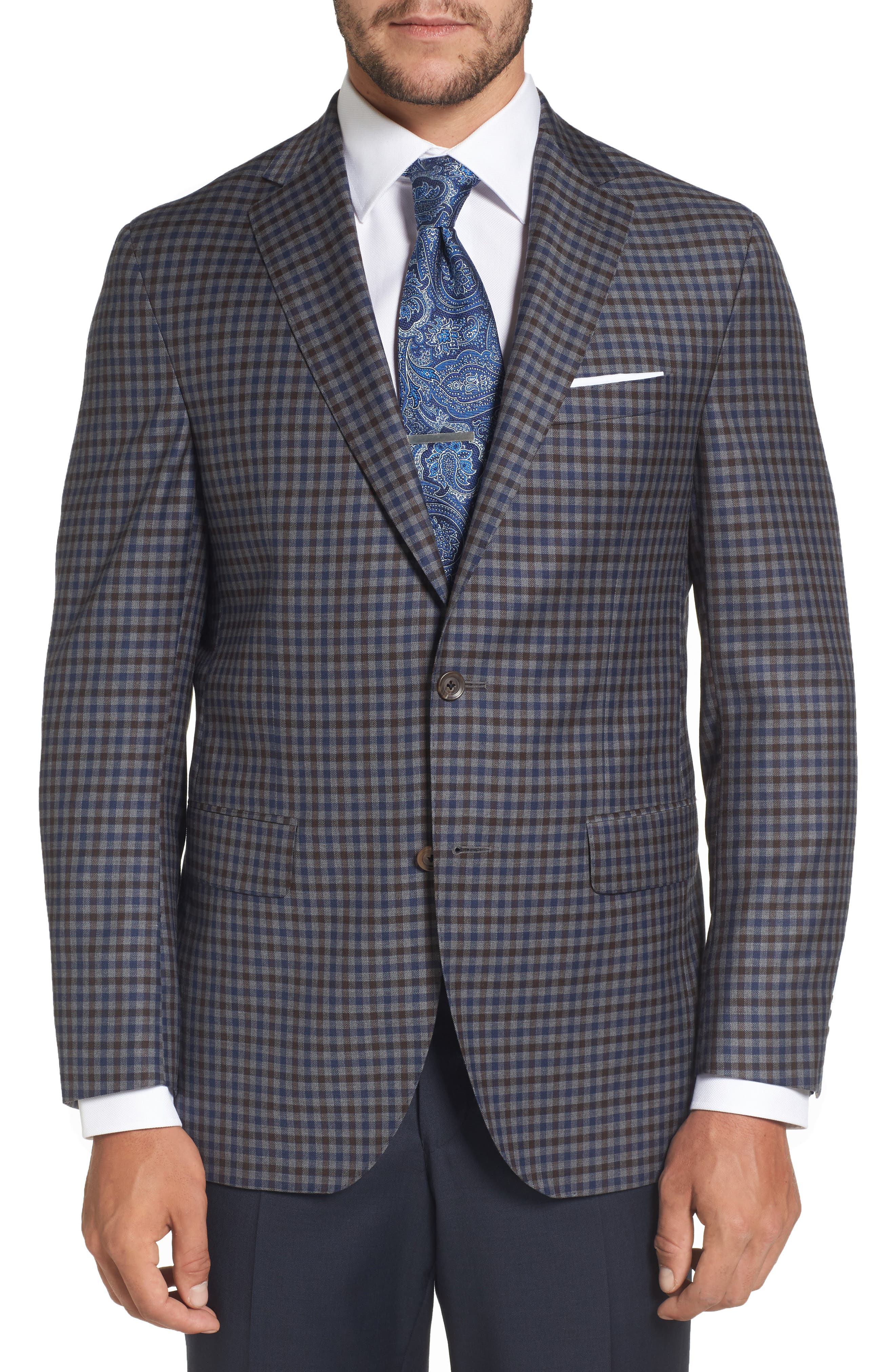 Arnold Classic Fit Check Wool Sport Coat,                             Main thumbnail 1, color,                             Grey