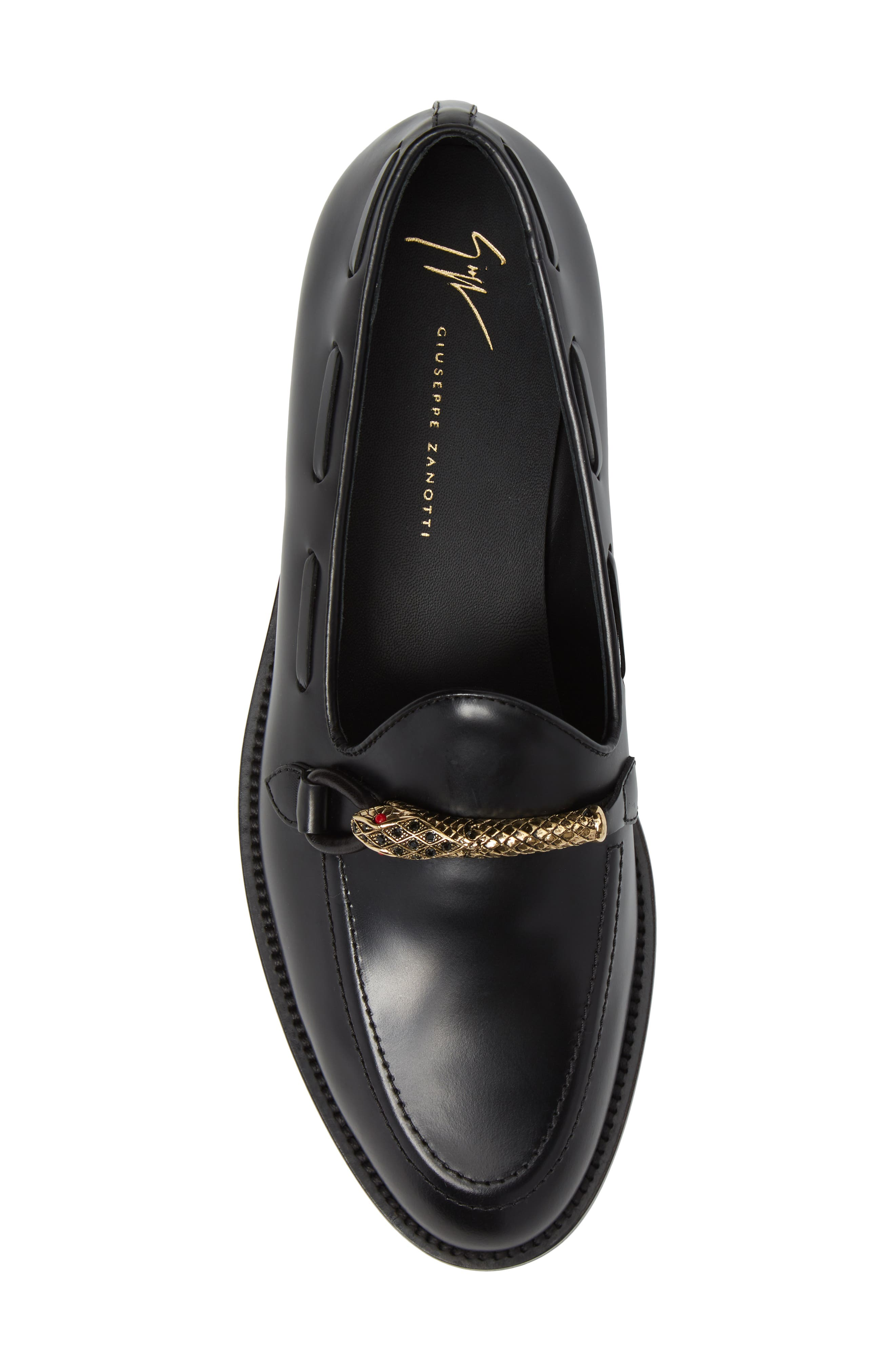 Serpent Bit Loafer,                             Alternate thumbnail 5, color,                             Nero Leather