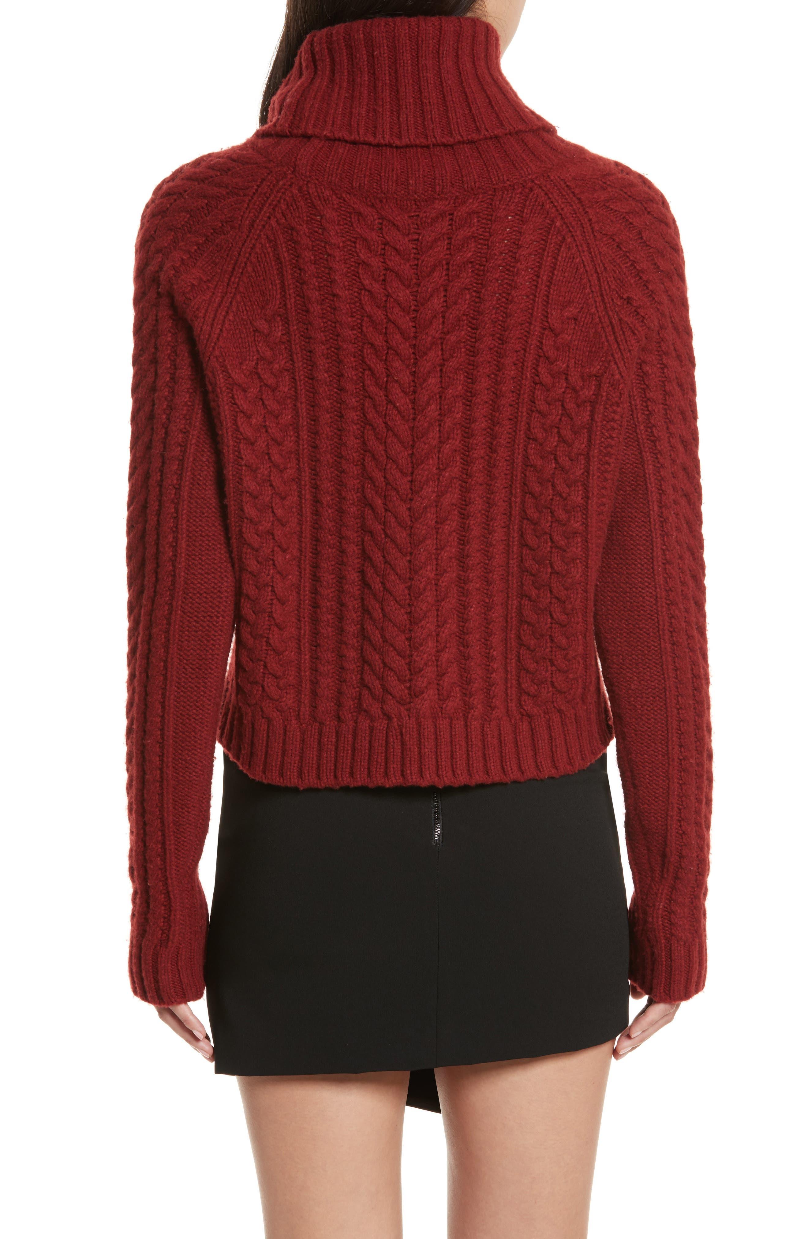 Tobin Cable Knit Crop Turtleneck Sweater,                             Alternate thumbnail 2, color,                             Bordeaux