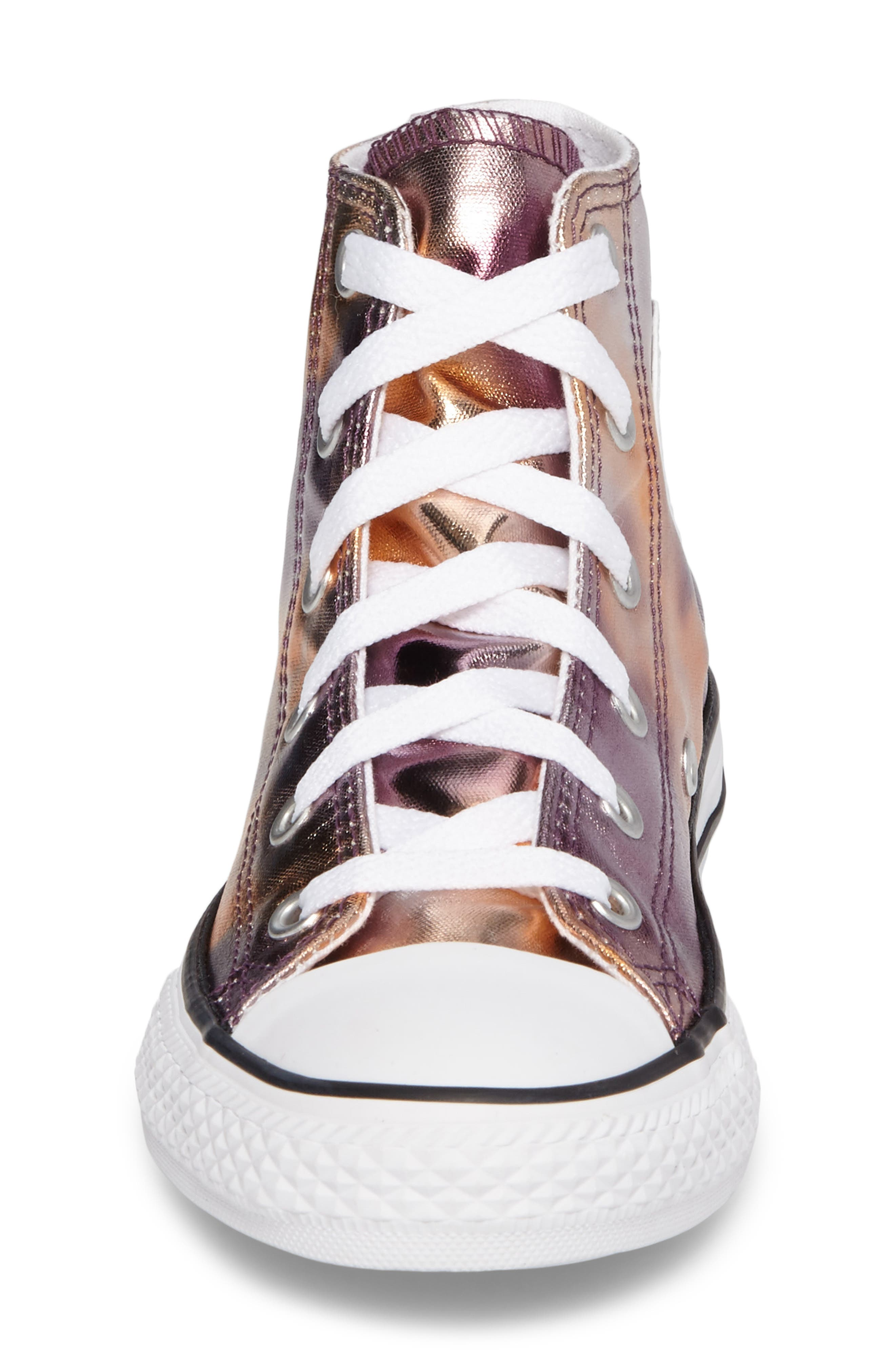 Chuck Taylor<sup>®</sup> All Star<sup>®</sup> Metallic High Top Sneaker,                             Alternate thumbnail 4, color,                             Dusk Pink Coated Canvas