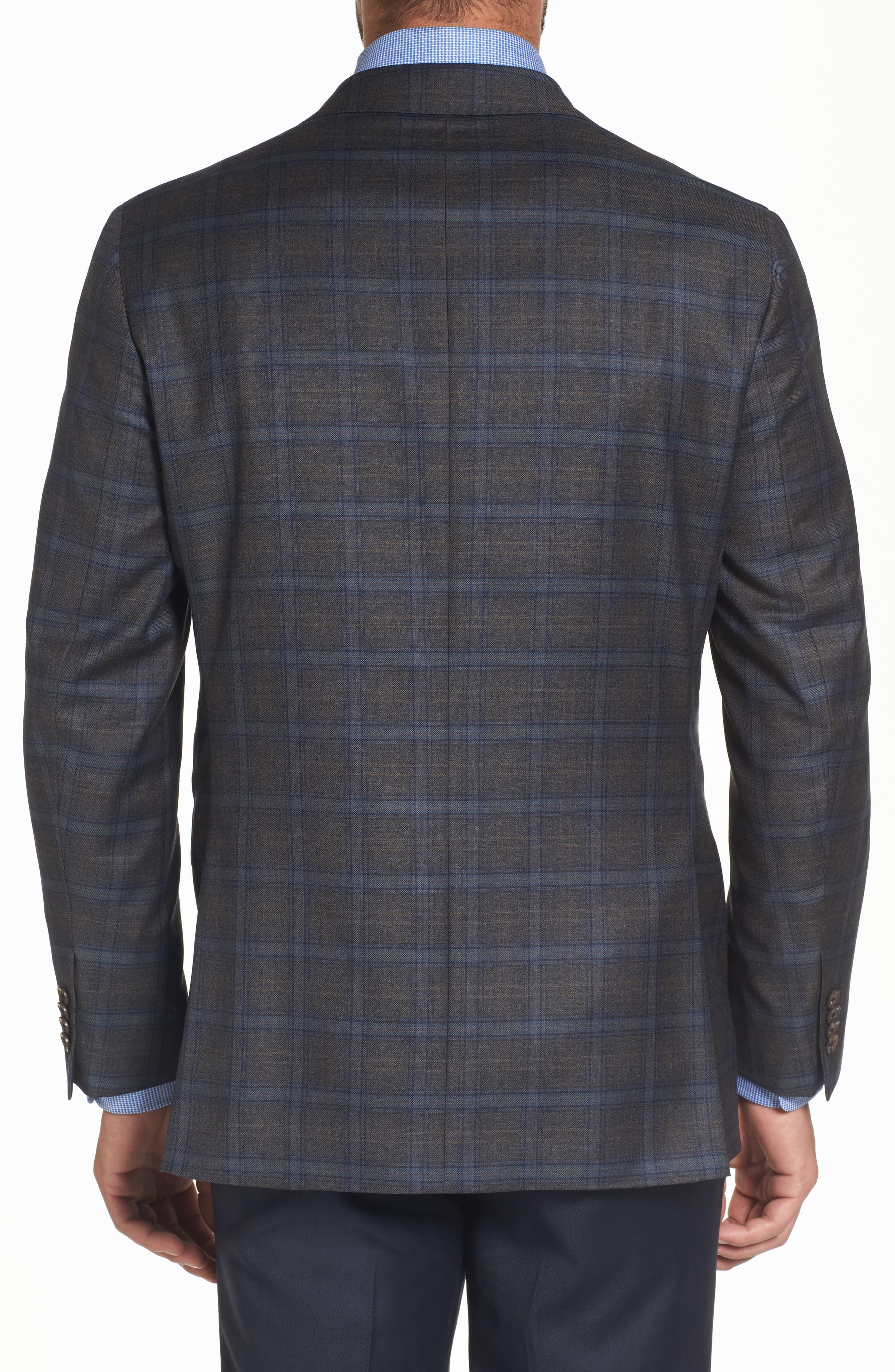 Arnold Classic Fit Plaid Wool Sport Coat,                             Alternate thumbnail 2, color,                             Grey