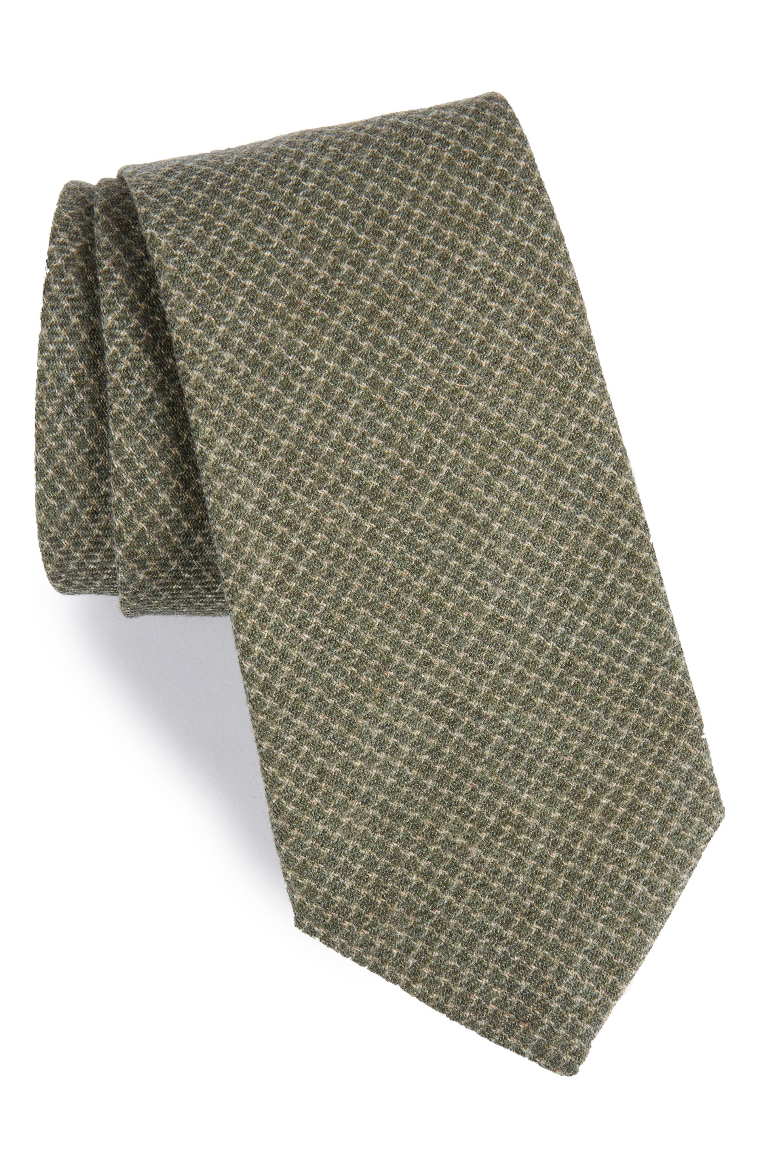 Geometric Wool Tie,                         Main,                         color, Olive