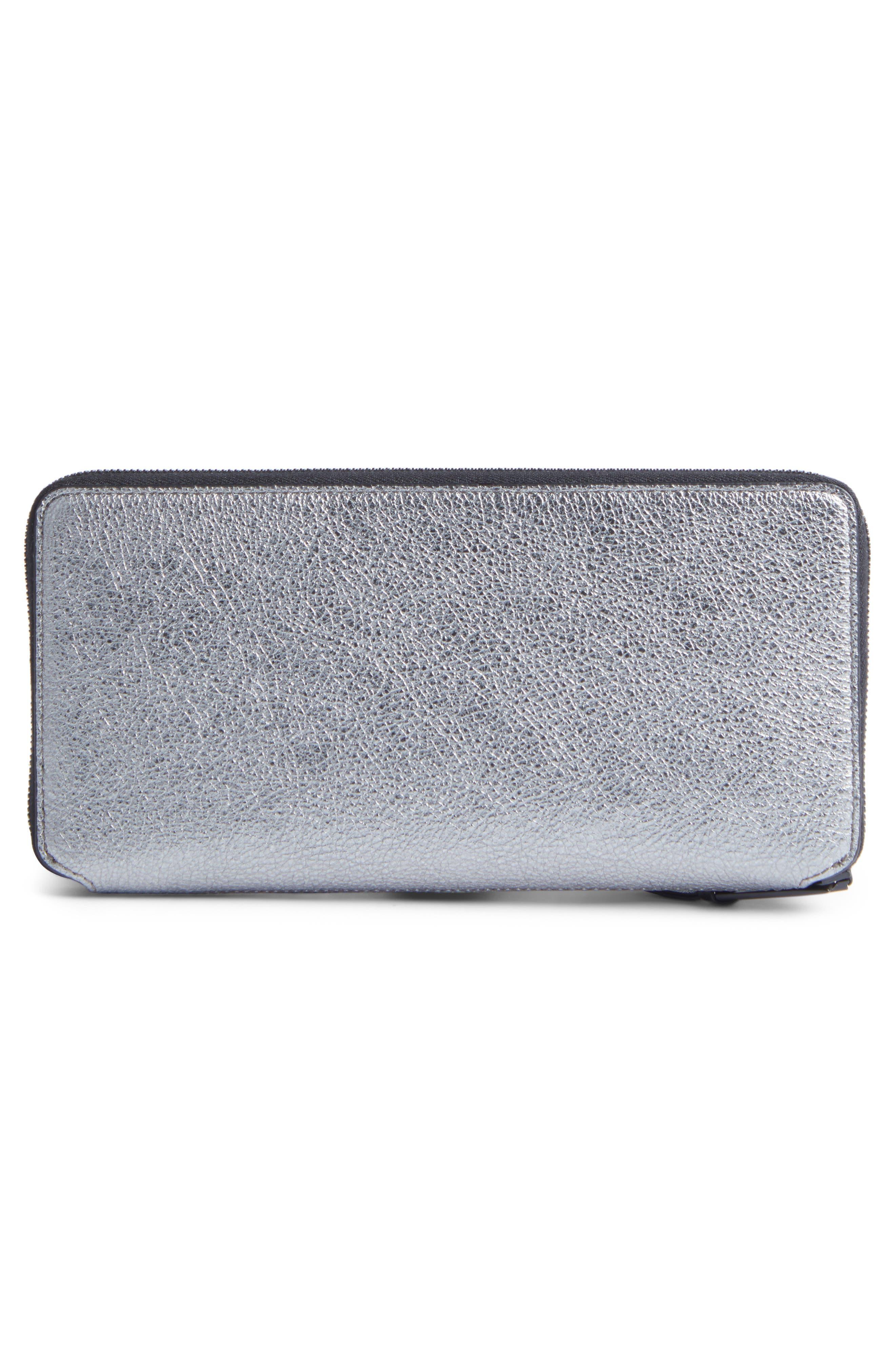 Metallic Leather Zip-Around Wallet,                             Alternate thumbnail 3, color,                             Gunmetal