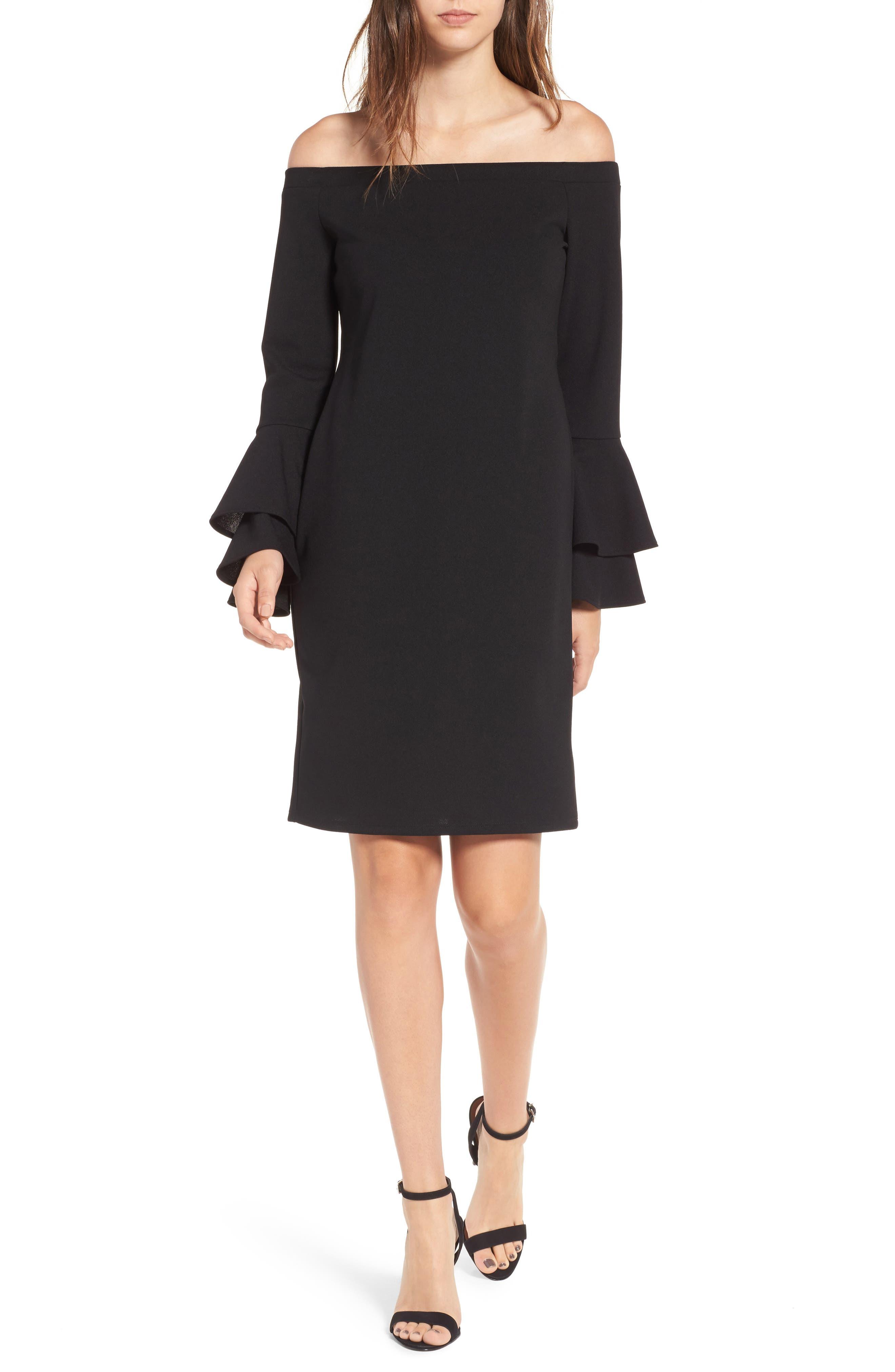 One Clothing Ruffle Sleeve Sheath Dress