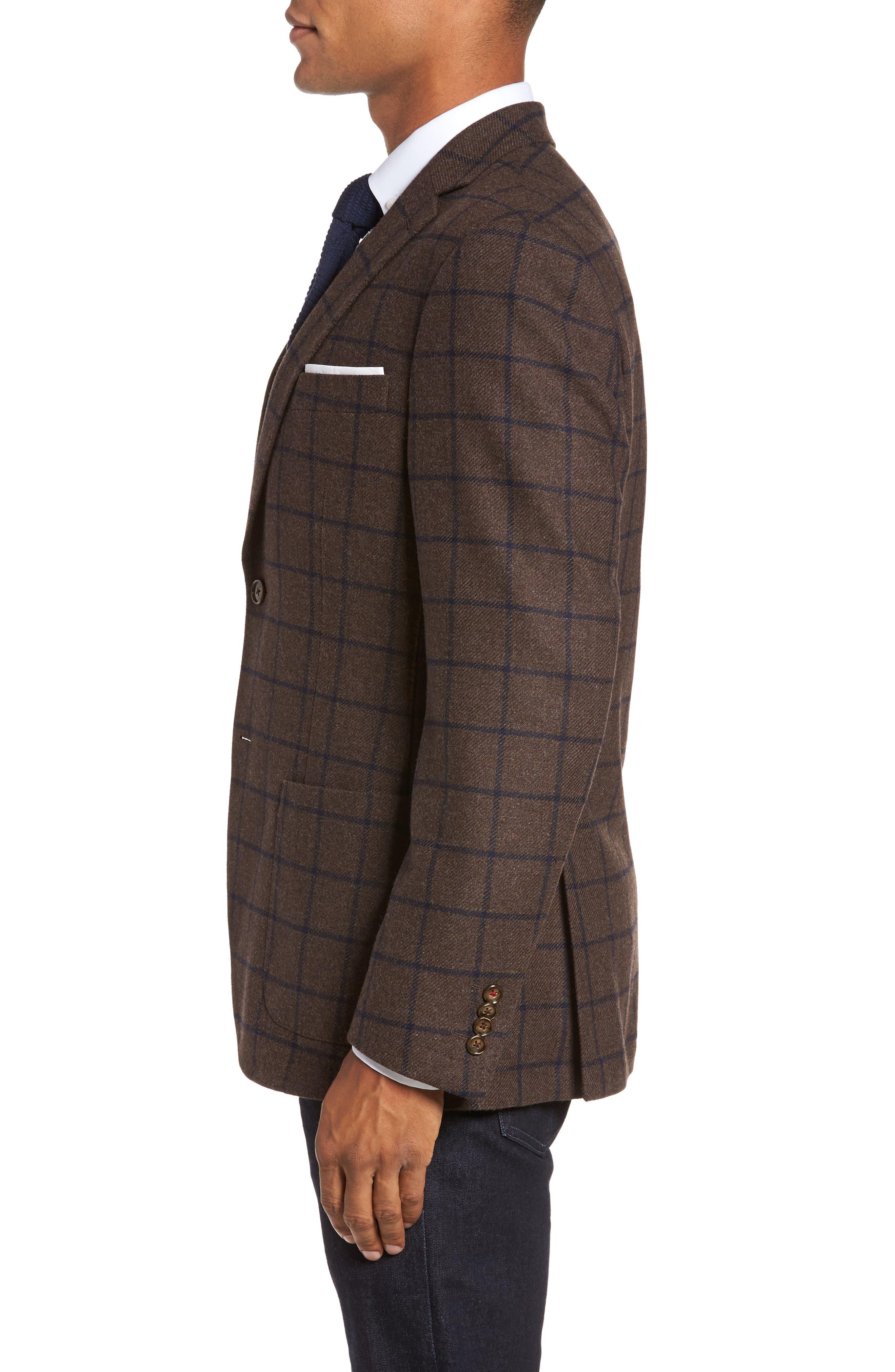 Alternate Image 3  - JKT New York Trim Fit Windowpane Wool Blend Sport Coat