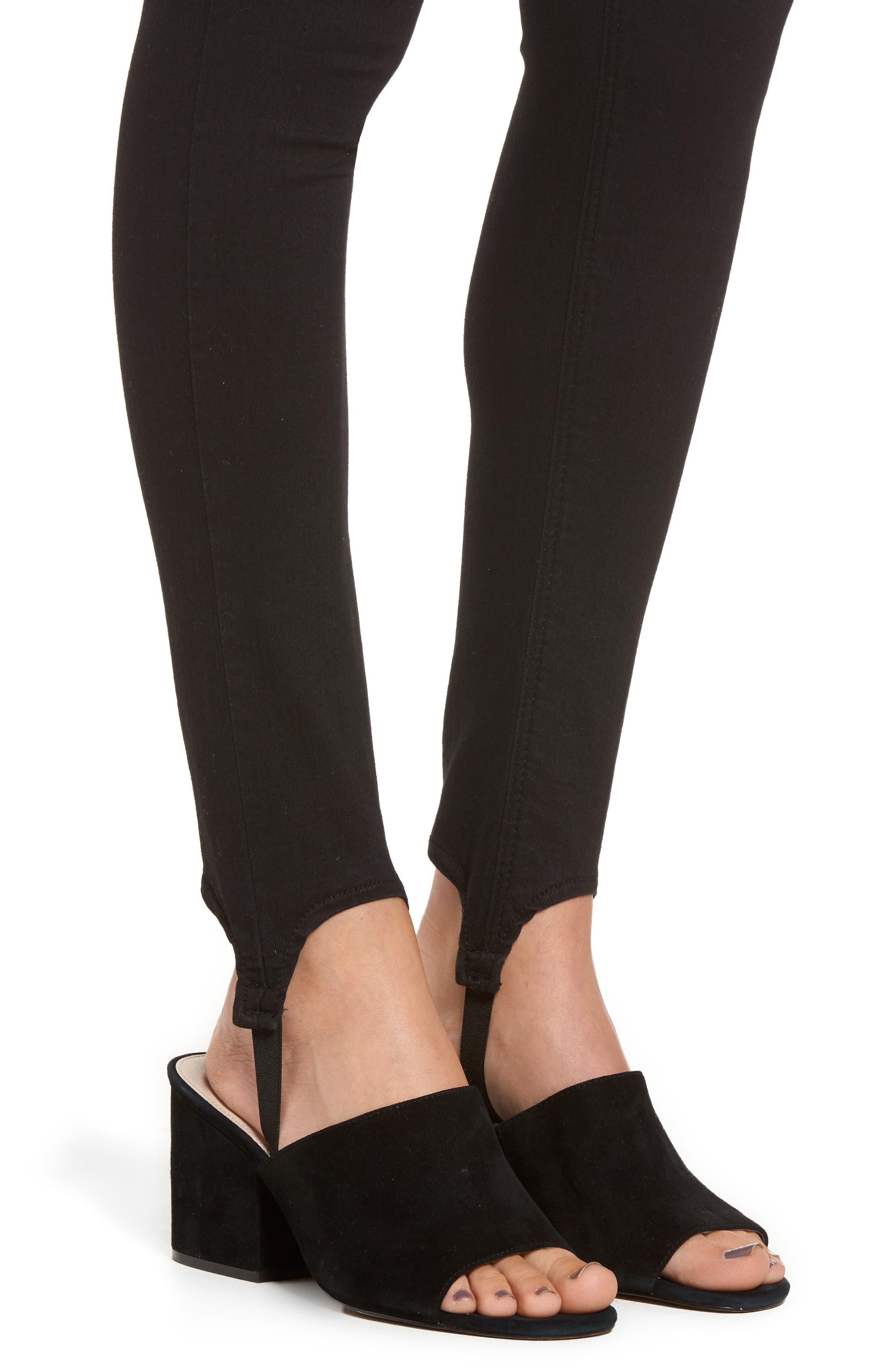 High Rise Skinny Stirrup Jeans,                             Alternate thumbnail 5, color,                             Black