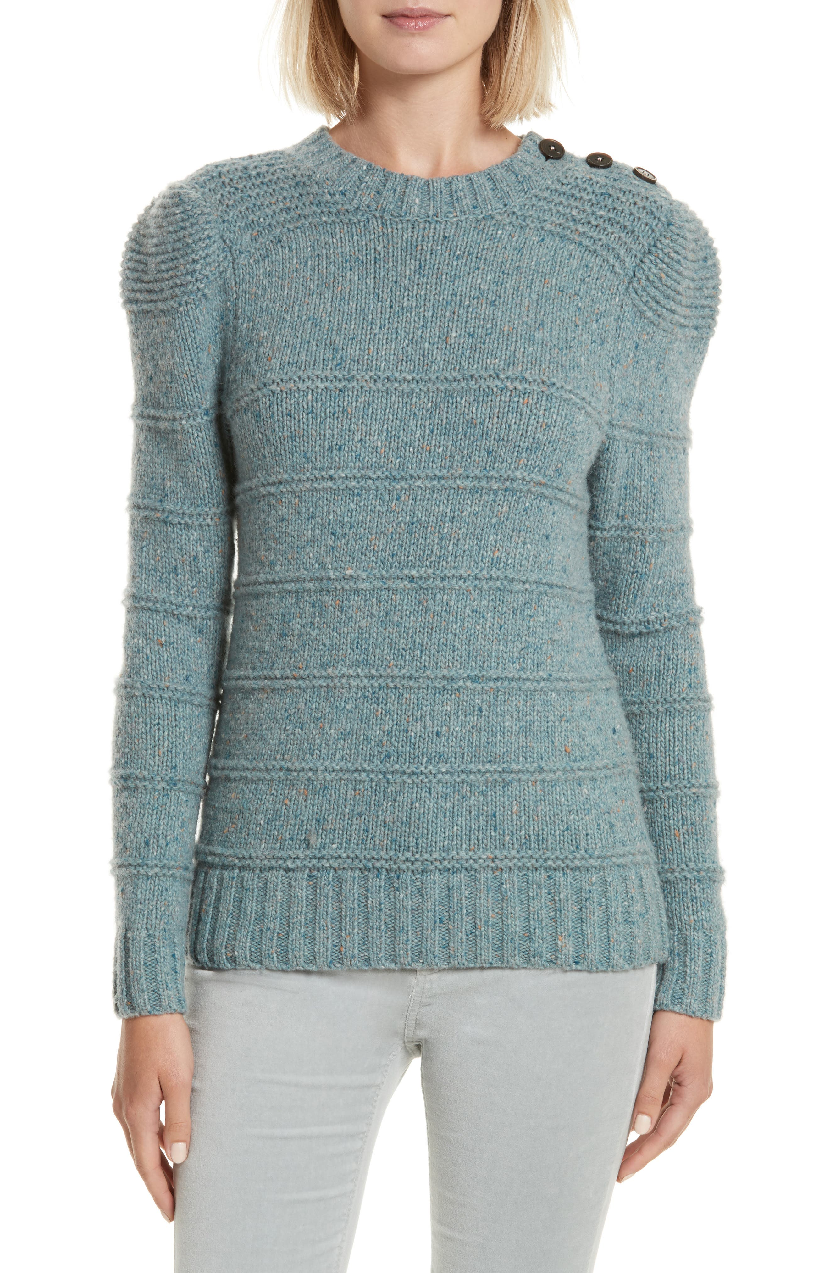 Donegal Tweed Pullover,                             Main thumbnail 1, color,                             Sea Mist