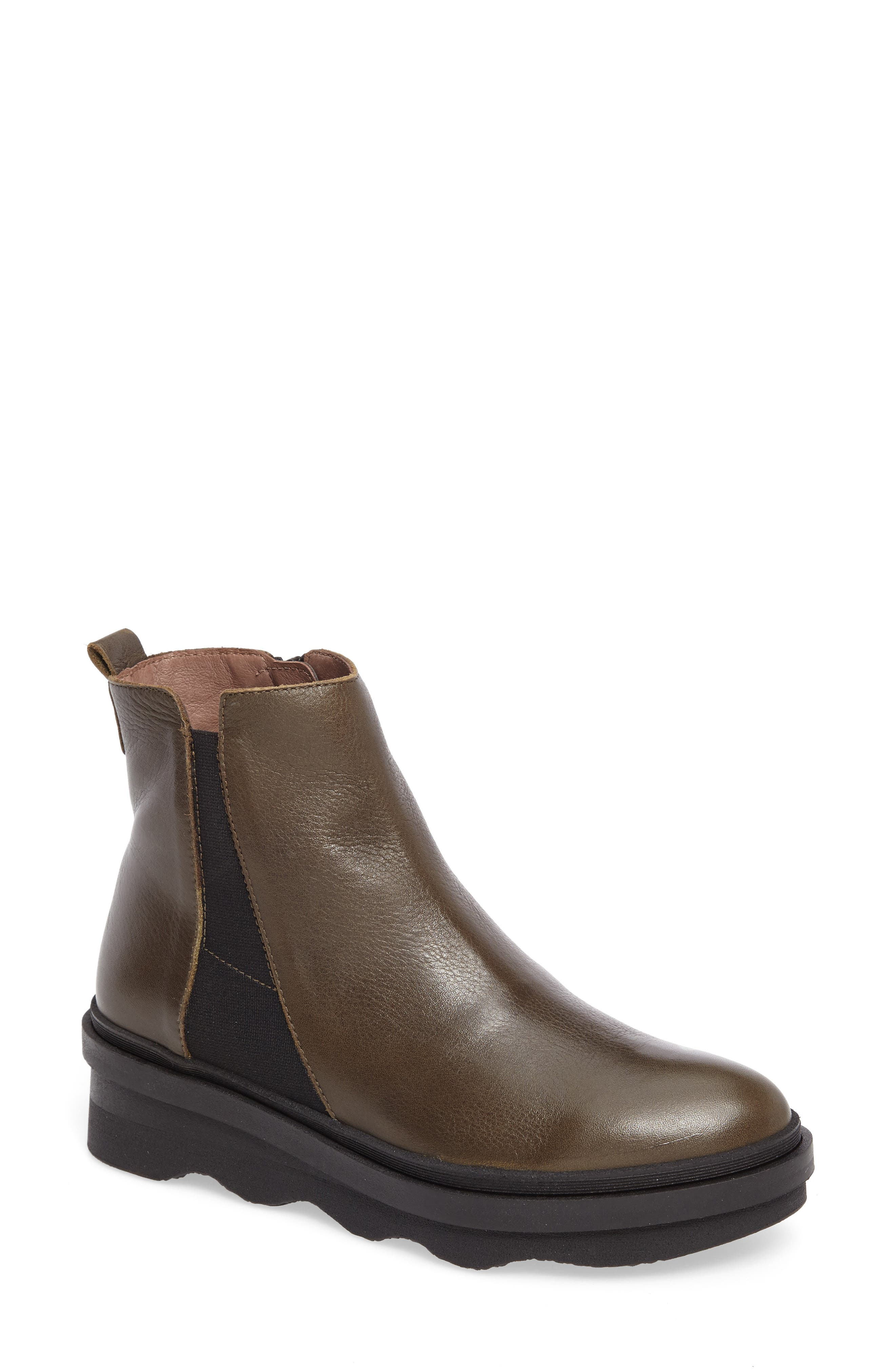 Platform Chelsea Bootie,                             Main thumbnail 1, color,                             Khaki Leather