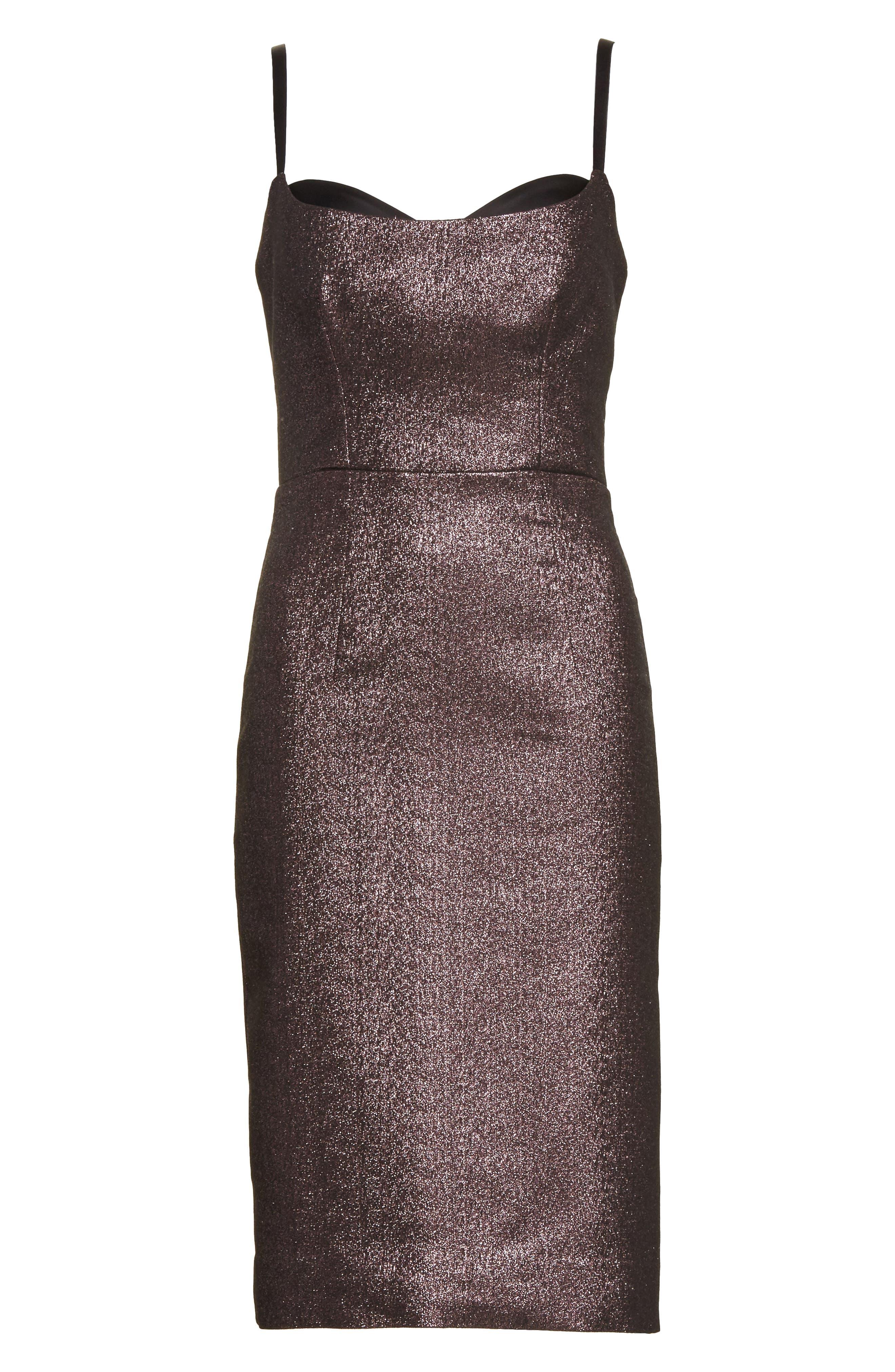 Tara Stretch Metallic Sheath Dress,                             Alternate thumbnail 6, color,                             Ballet