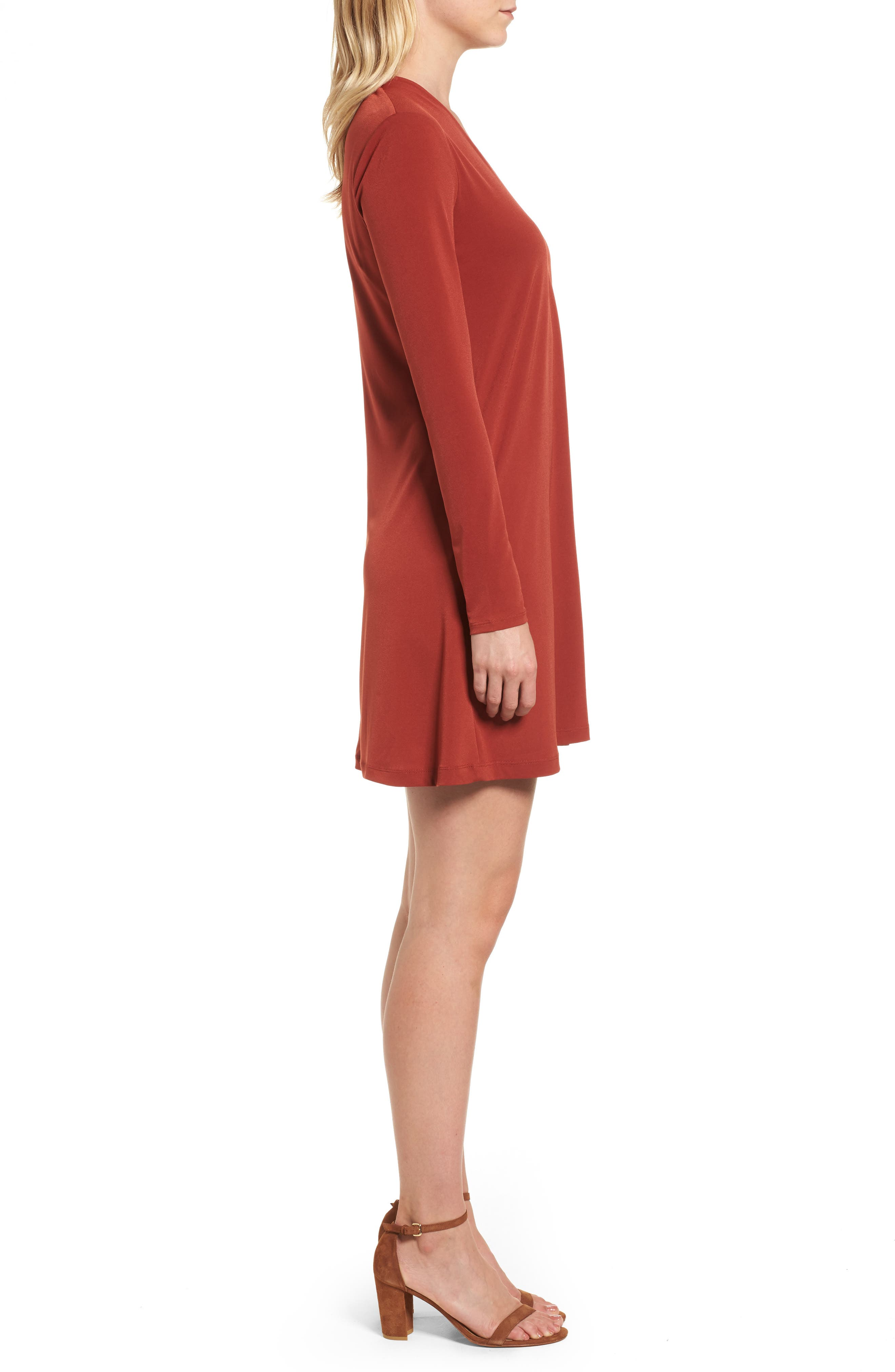 V-Neck A-Line Dress,                             Alternate thumbnail 4, color,                             Red Clay