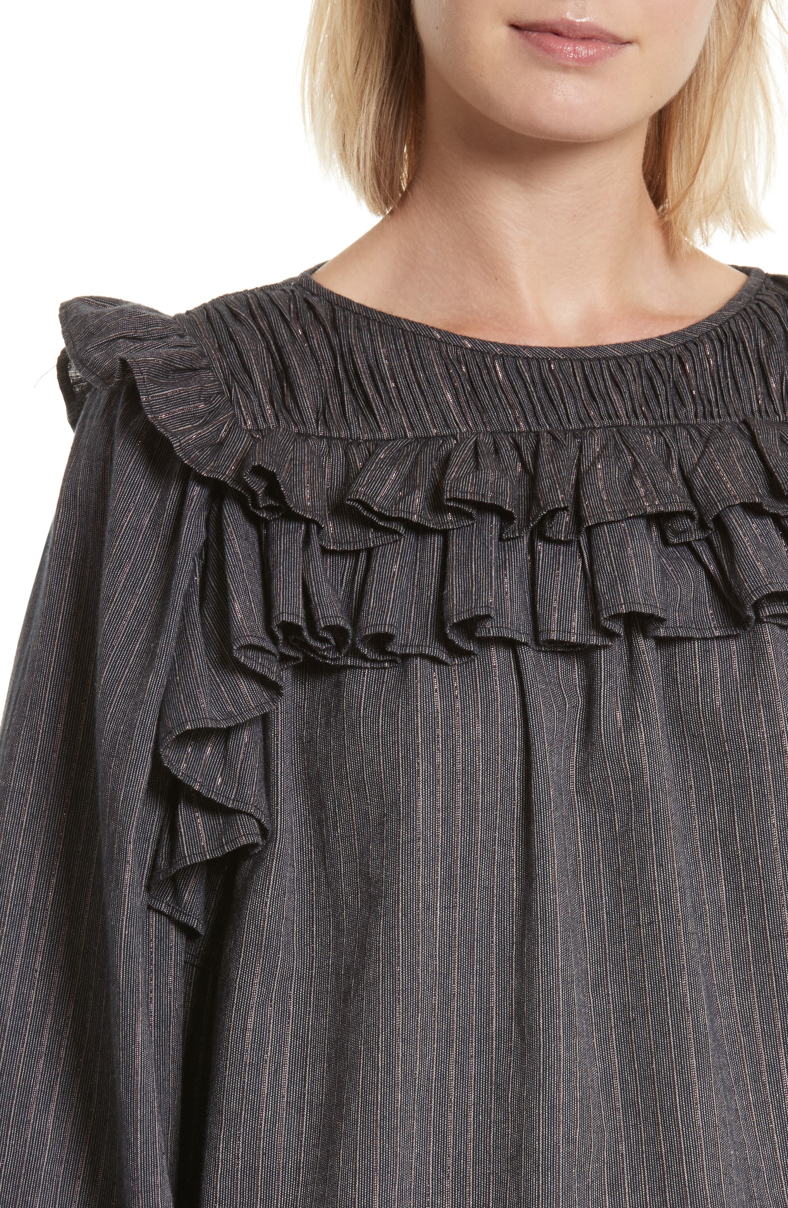 Ruffle Lurex<sup>®</sup> Stripe Blouse,                             Alternate thumbnail 4, color,                             Washed Black Combo