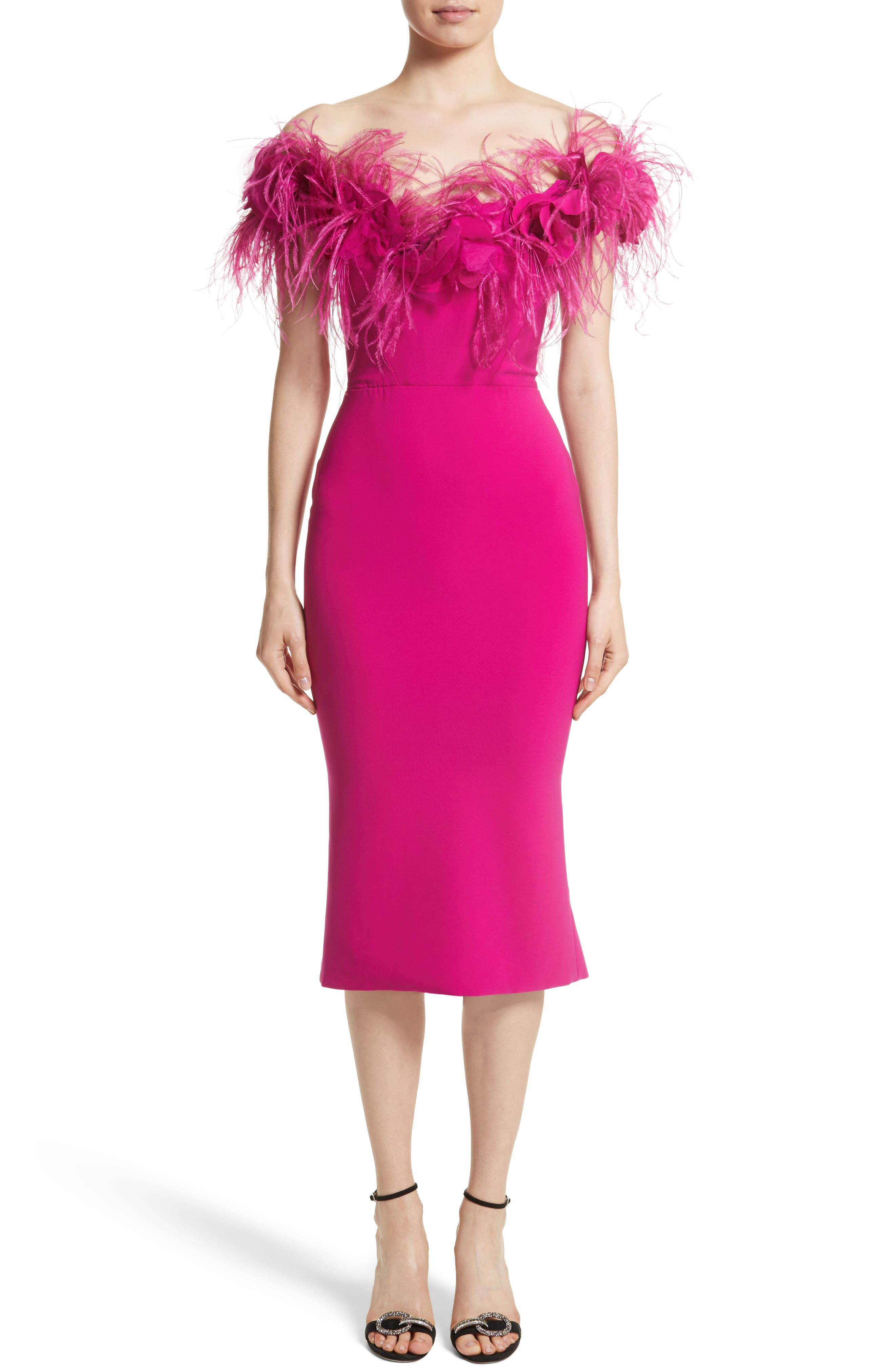 Marchesa Feather Trim Crepe Off the Shoulder Dress