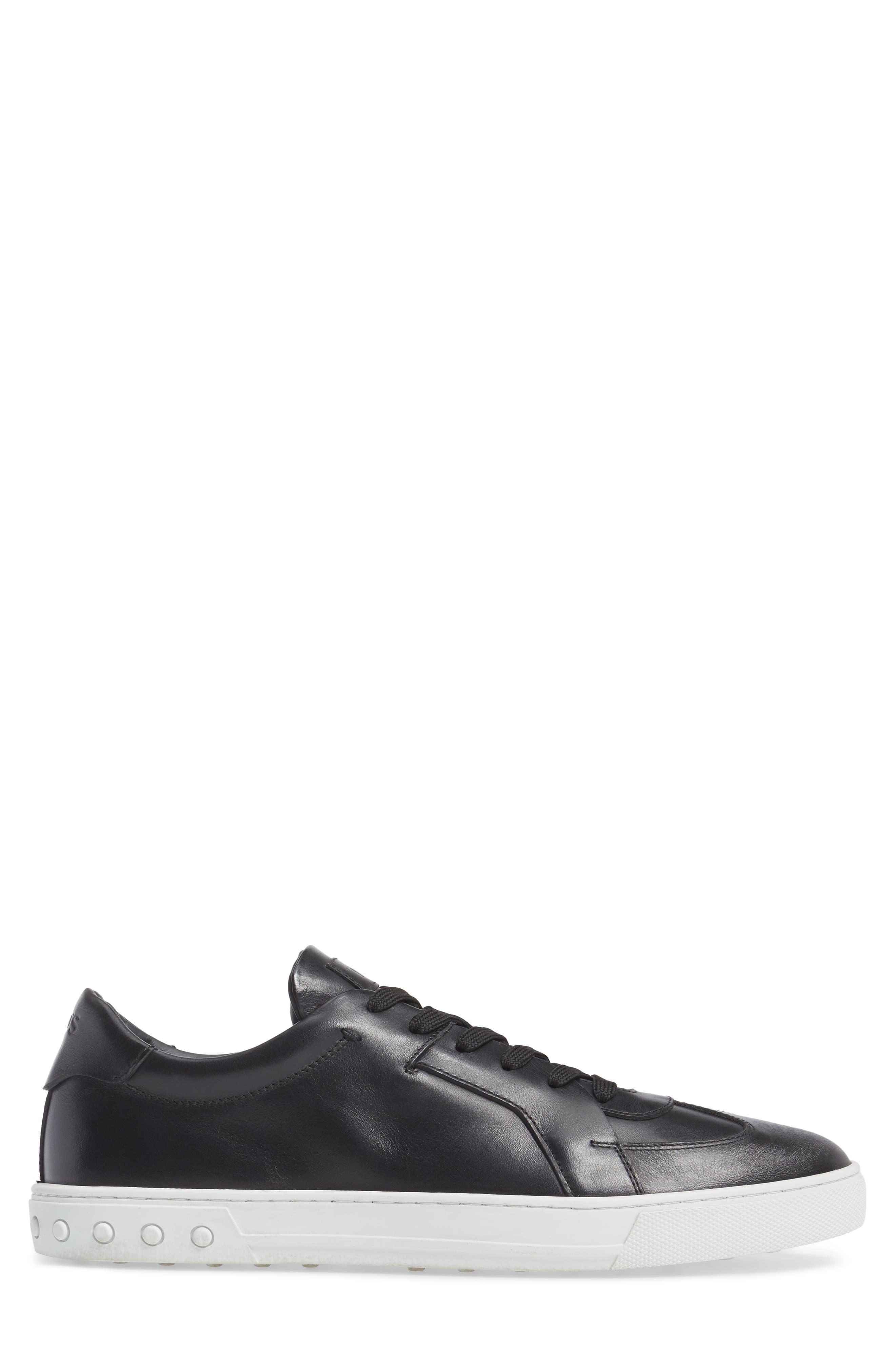 Cassetta Leather Sneaker,                             Alternate thumbnail 3, color,                             Black Leather
