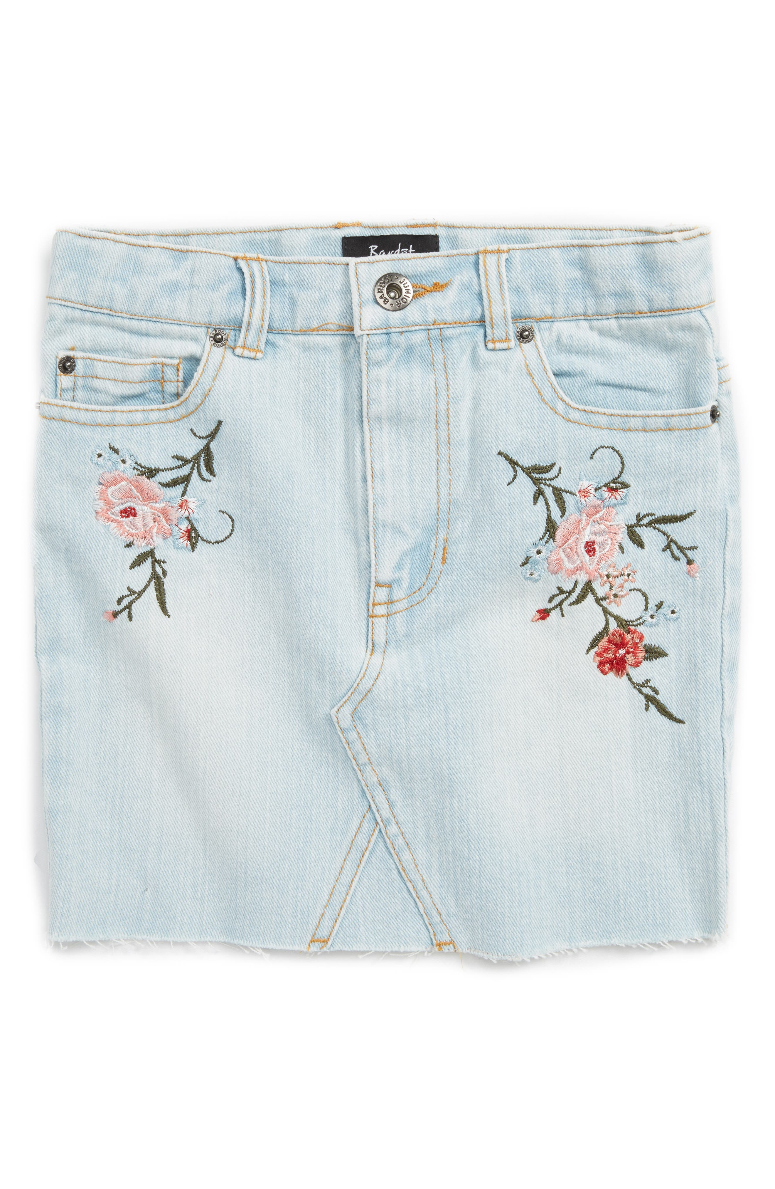 BARDOT JUNIOR Embroidered Denim Skirt
