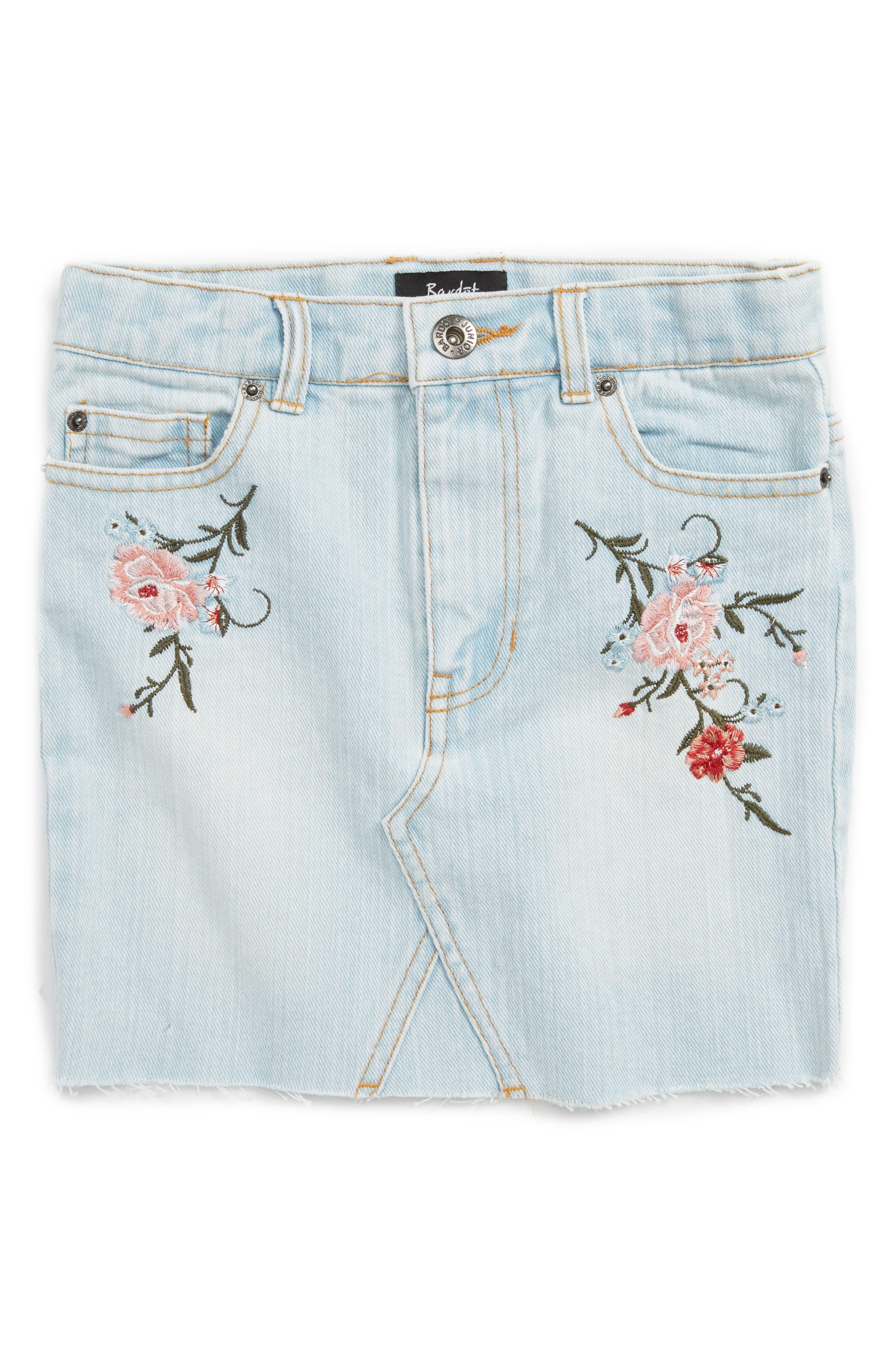 Alternate Image 1 Selected - Bardot Junior Embroidered Denim Skirt (Little Girls)